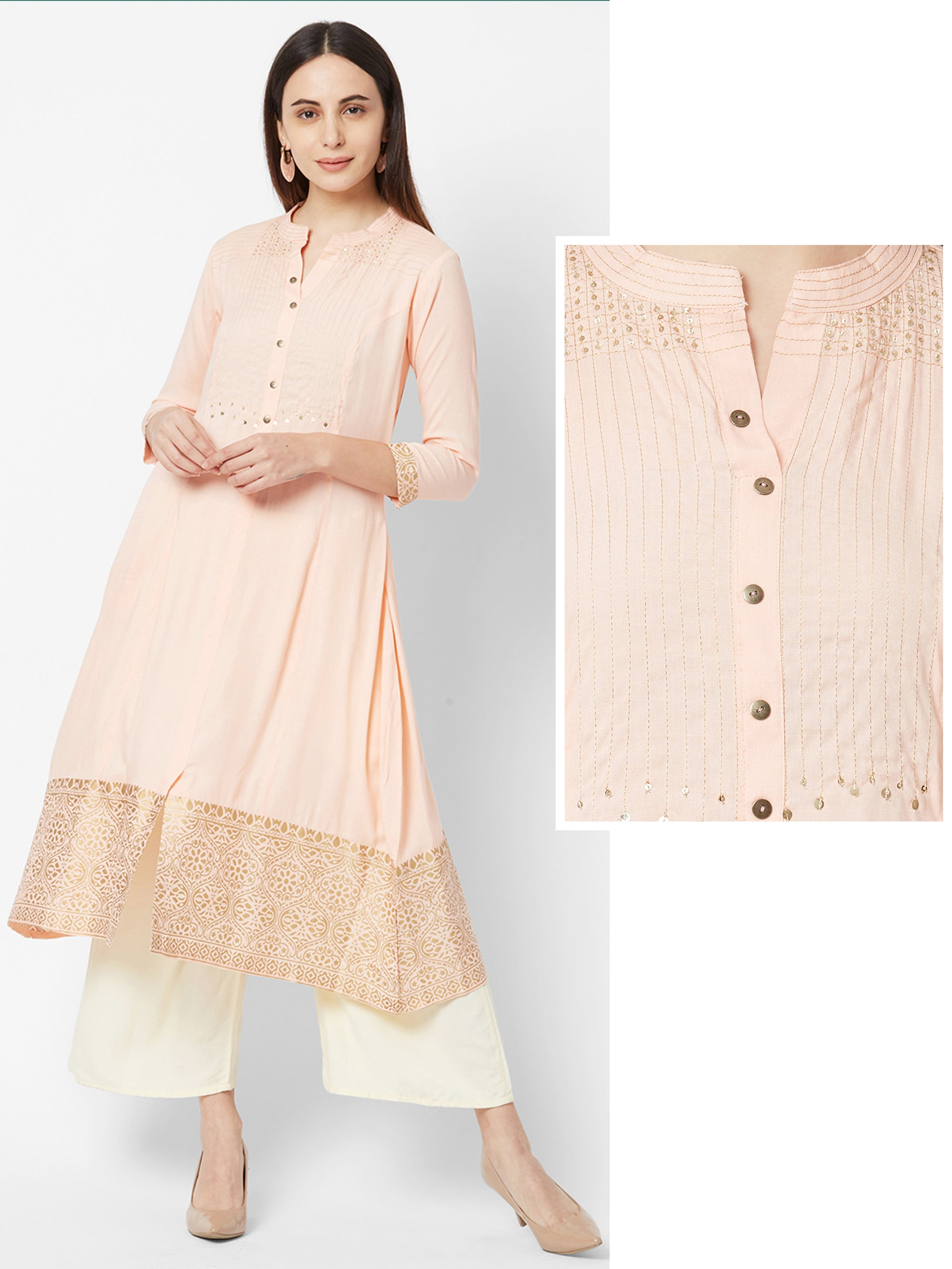 Foil Floral Printed Kurta with Sequins Embellishments – Peach