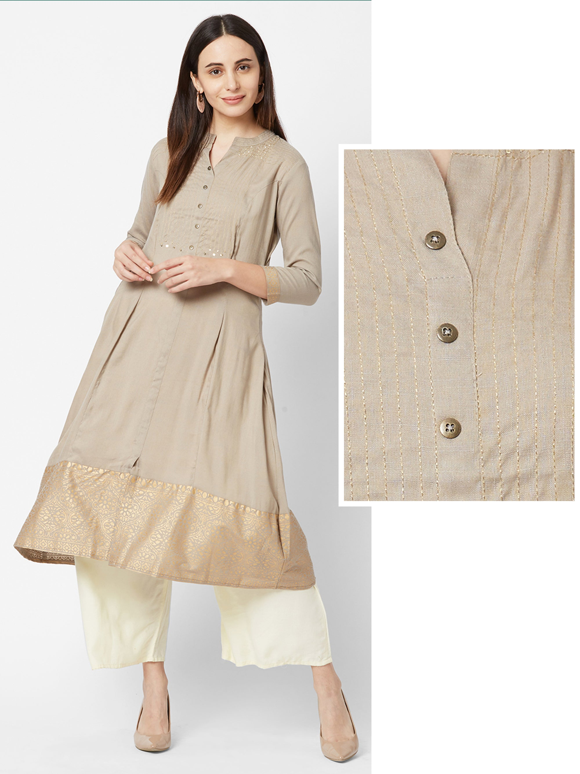 Foil Floral Printed Kurta with Sequins Embellishments – Nude Brown