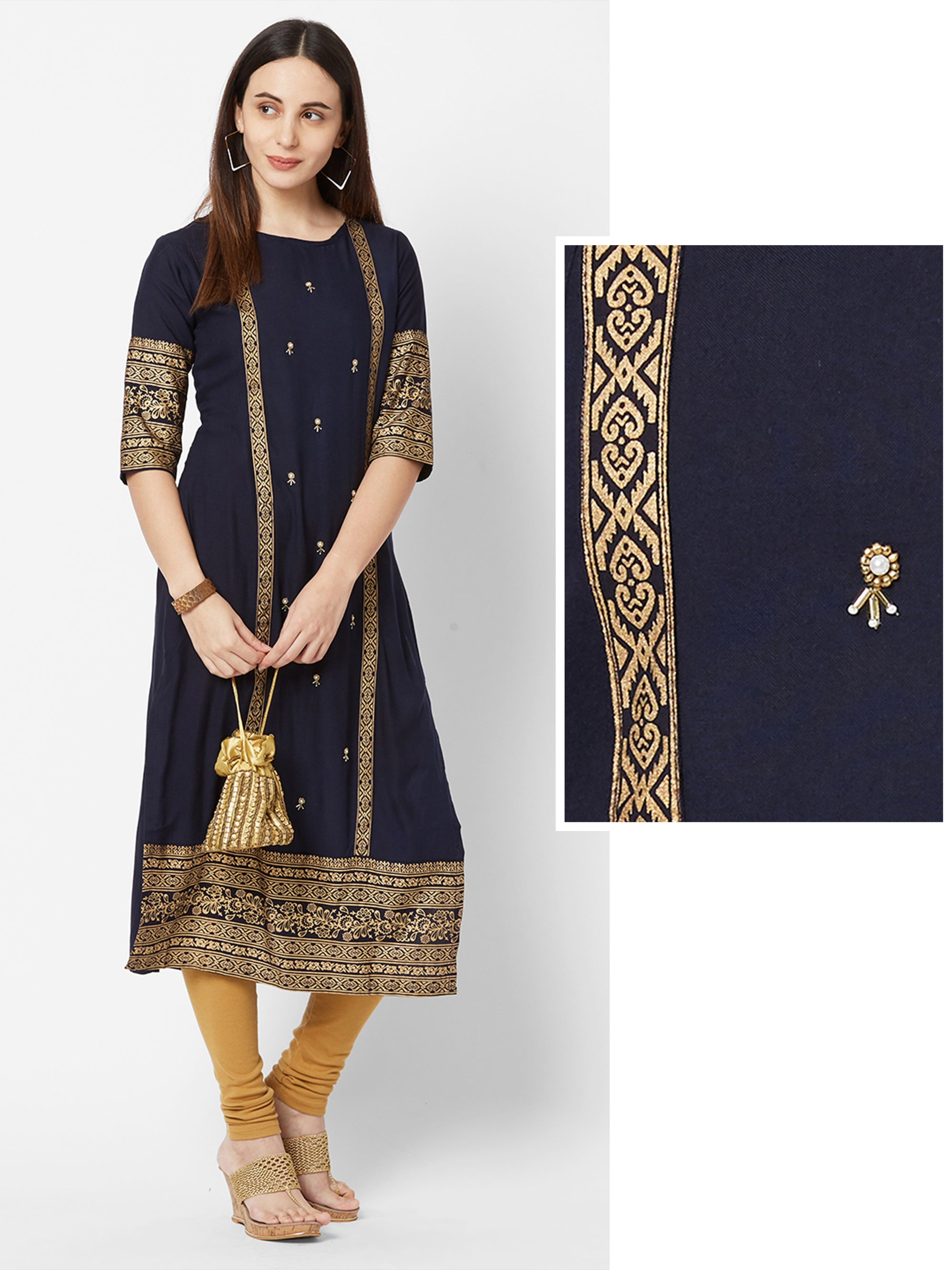 Cutdana & Bead work Embellished Foil Printed Kurta – Navy Blue