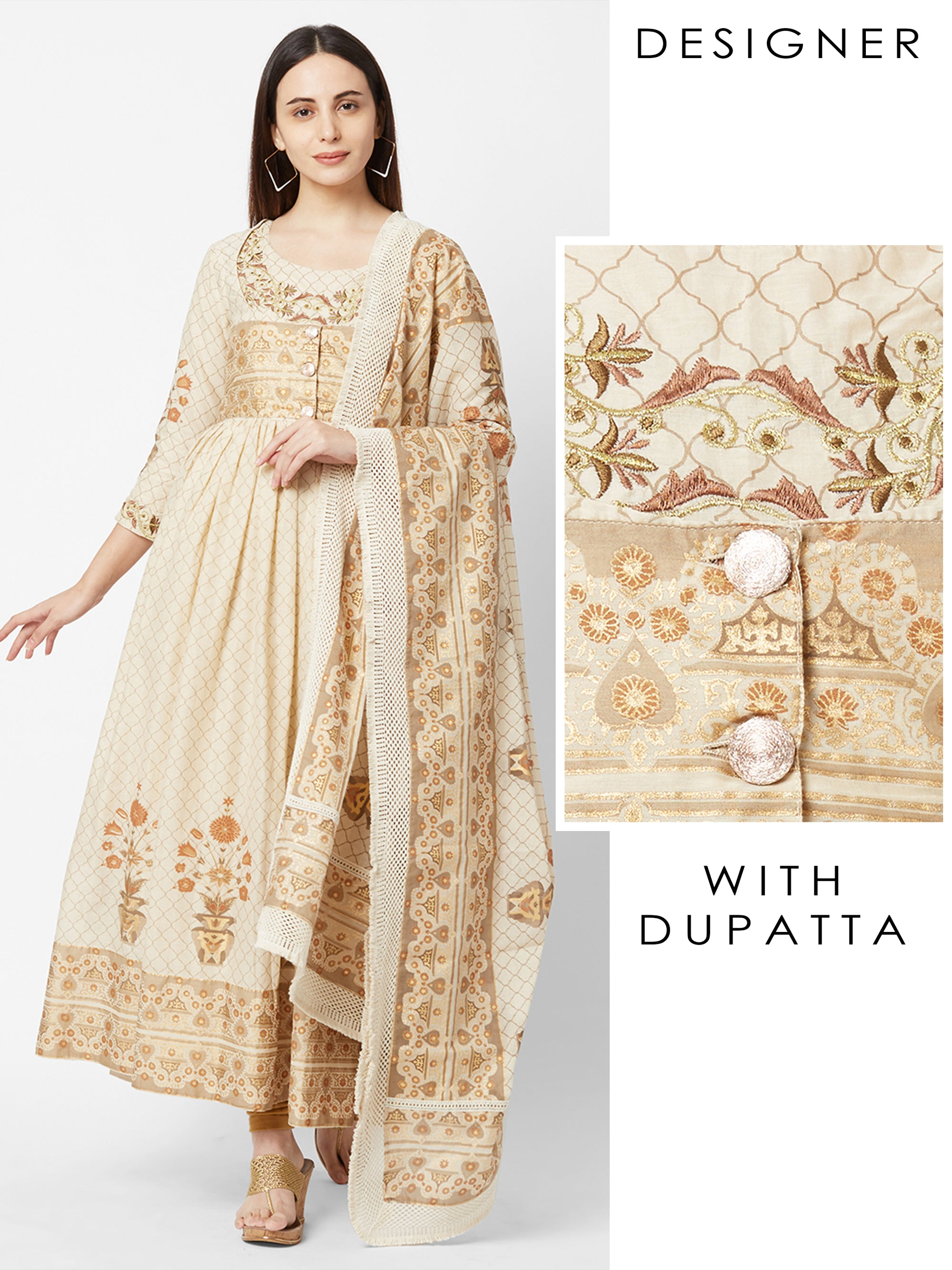 Quatrefoil Printed Floral Embroidered Anarkali with Dupatta – Off-White
