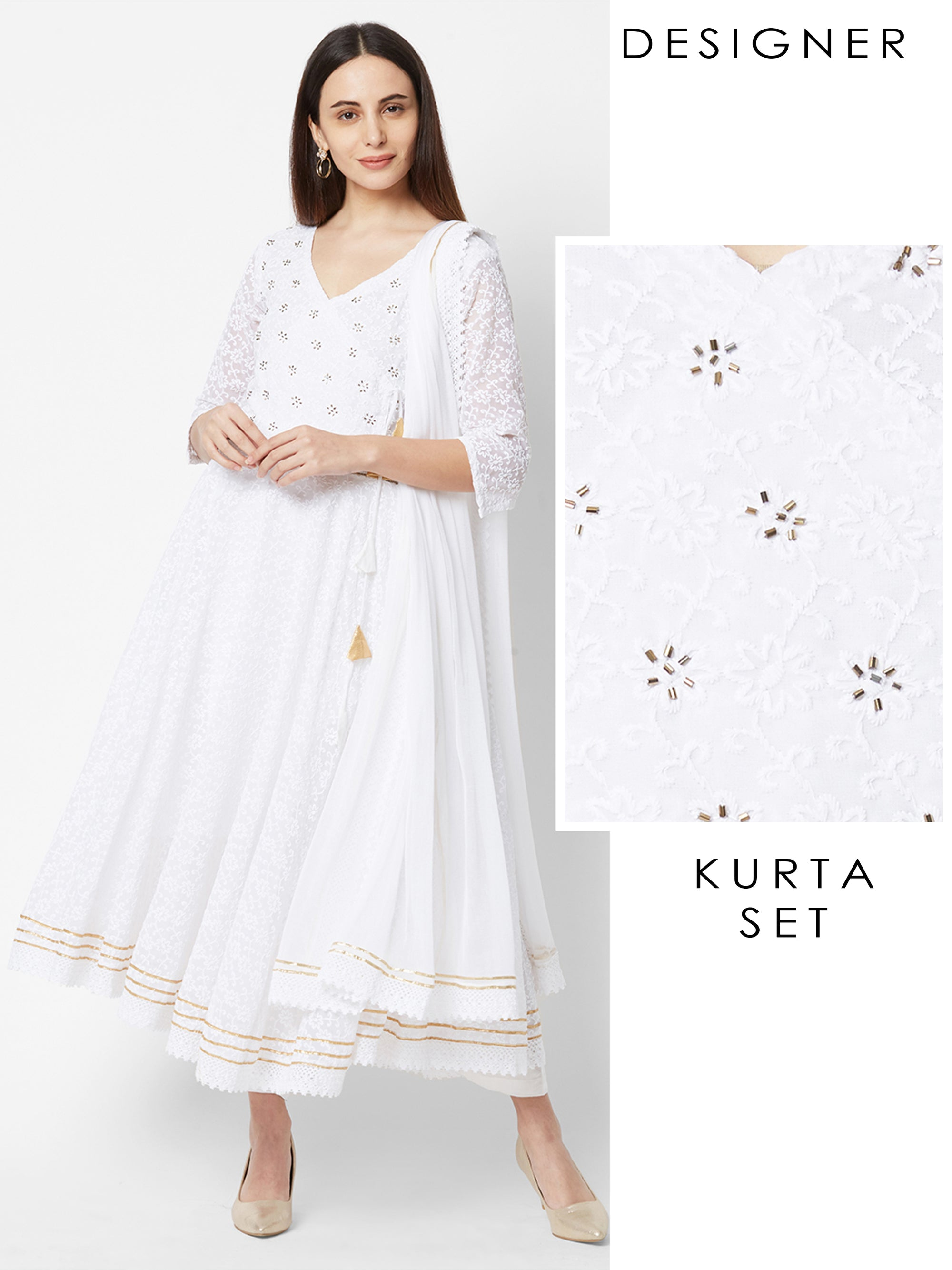 Floral Embroidered and Cutdana embellished Angrakha Kurta with Pant & Dupatta – White