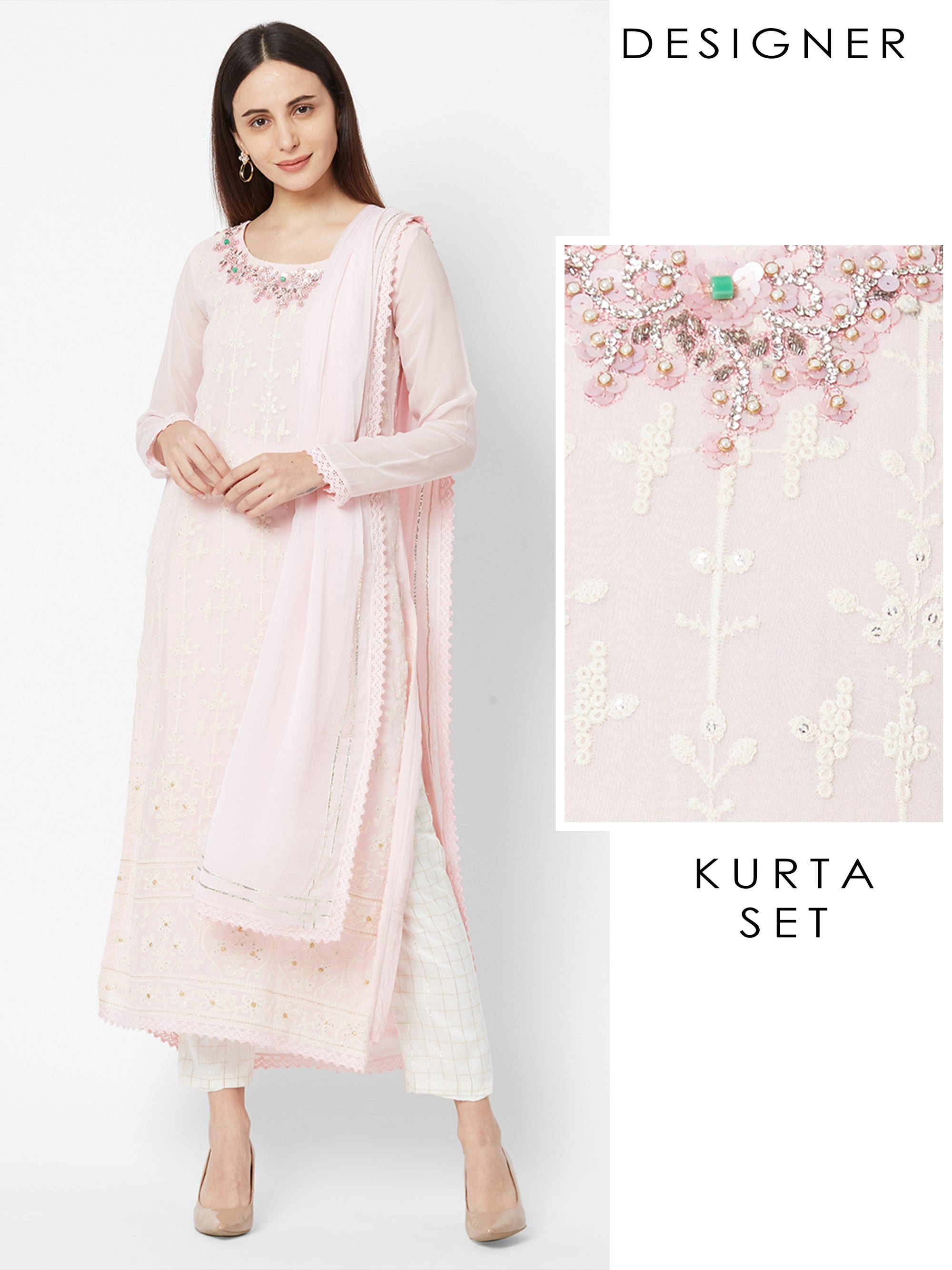 Rhinestones & Beads Embellished Designer Kurta with Checkered Pant & Dupatta