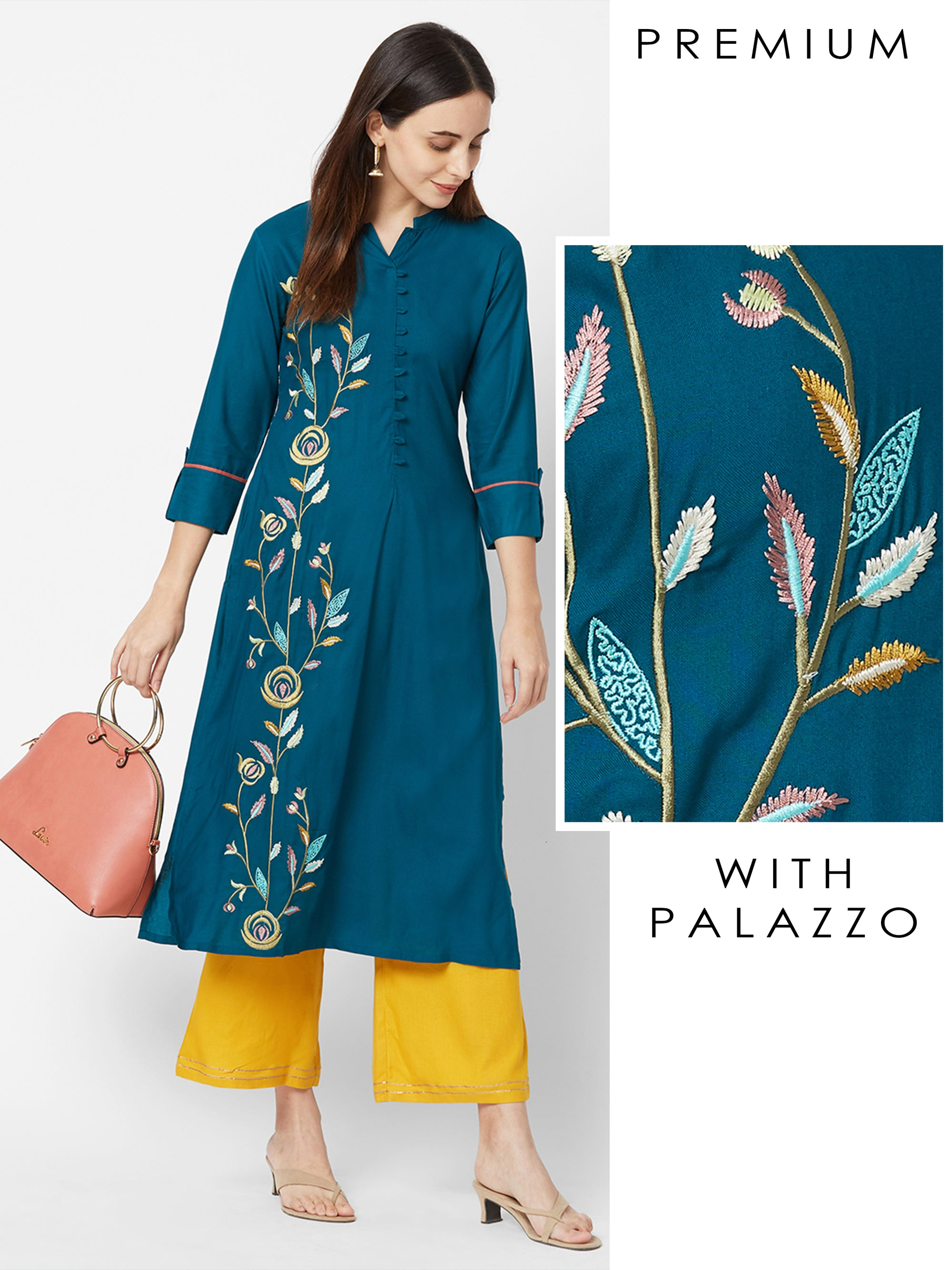Floral embroidered Kurta with Gota Laced Palazzo