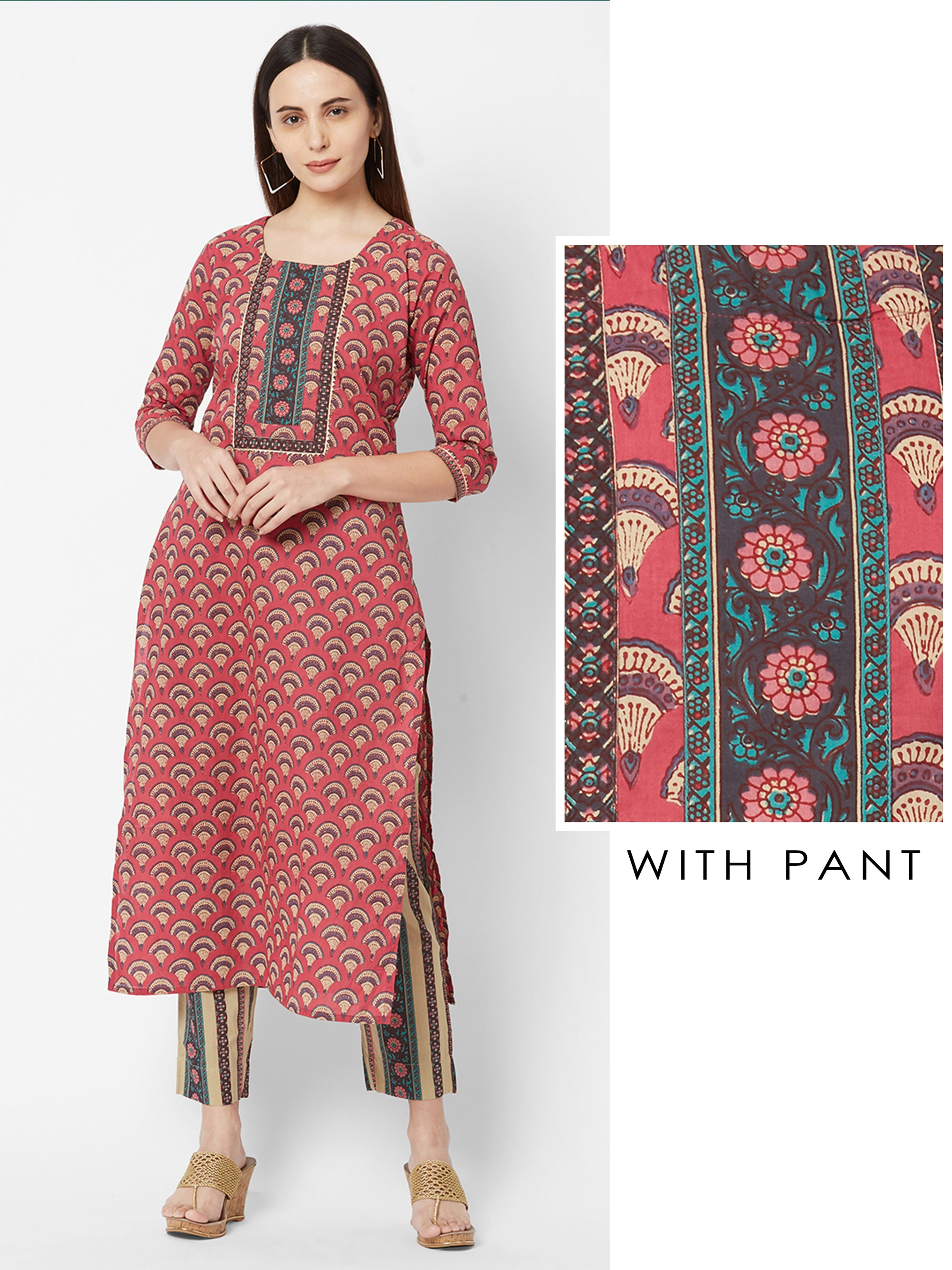 Floral Printed Temple Gota Kurta with Striped Pant – Pink