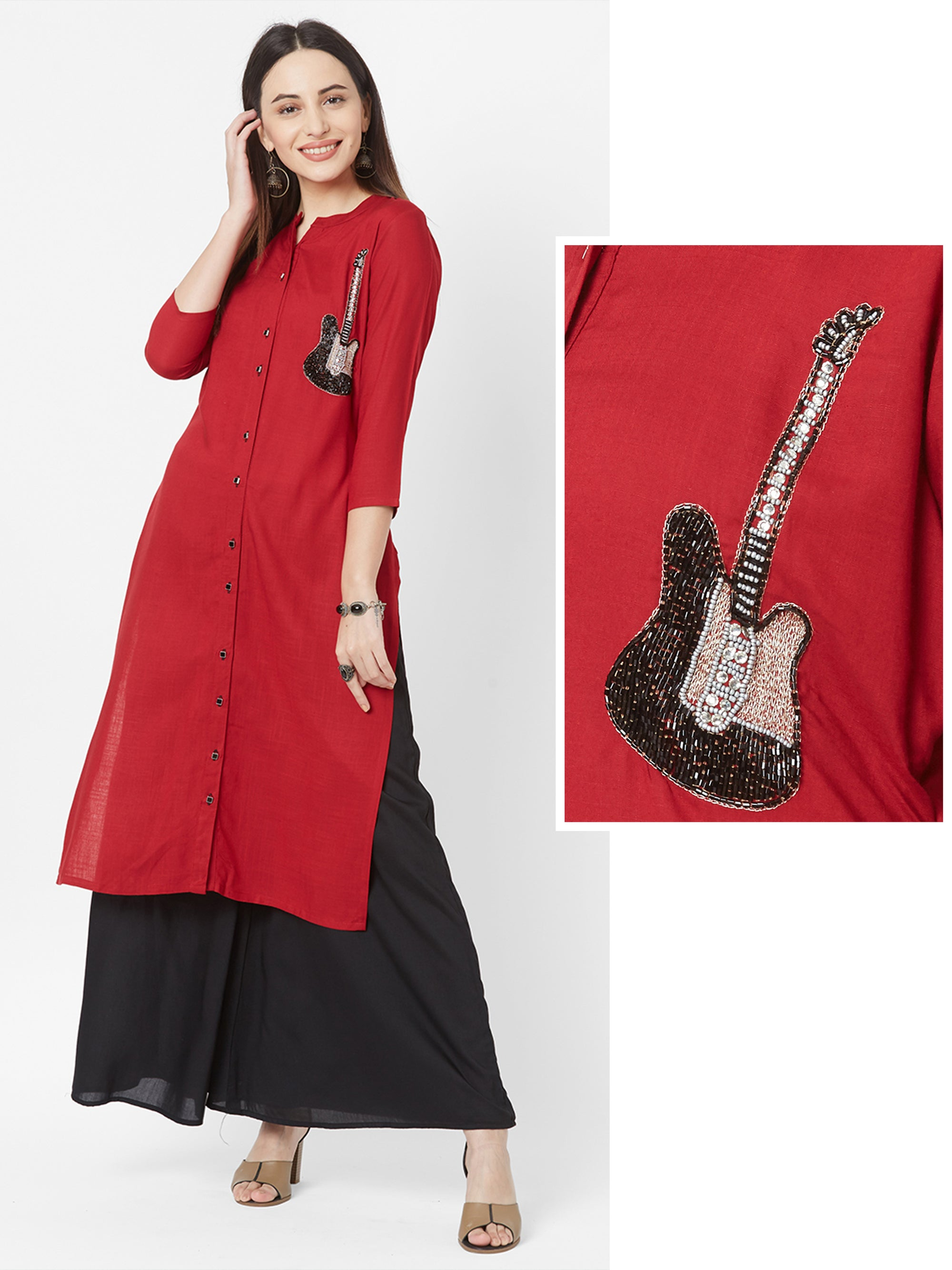 Cutdana Detailed Guitar Embellished Kurti