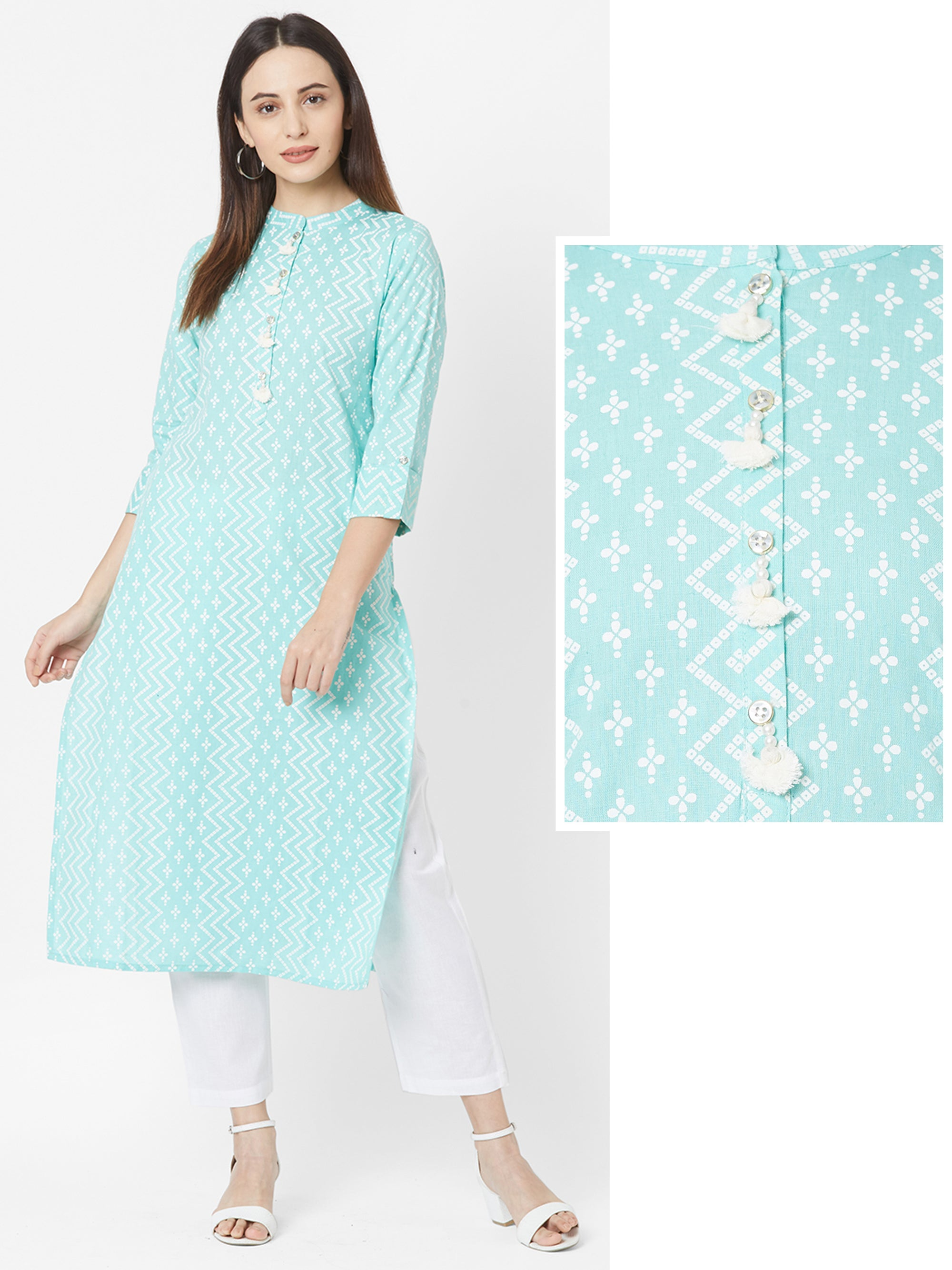 Chevron Bandhani Printed Cotton Kurta – Cyan Green