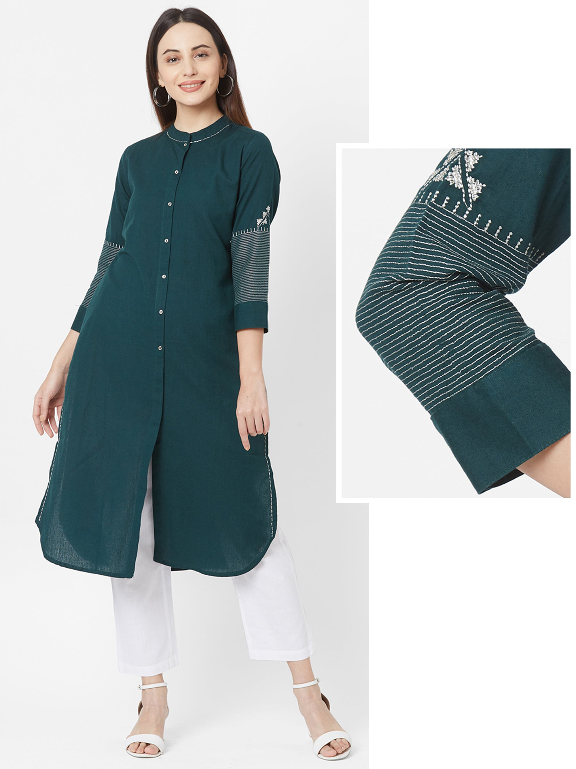 Zari Embroidered Solid Cotton Kurta – Bottle Green