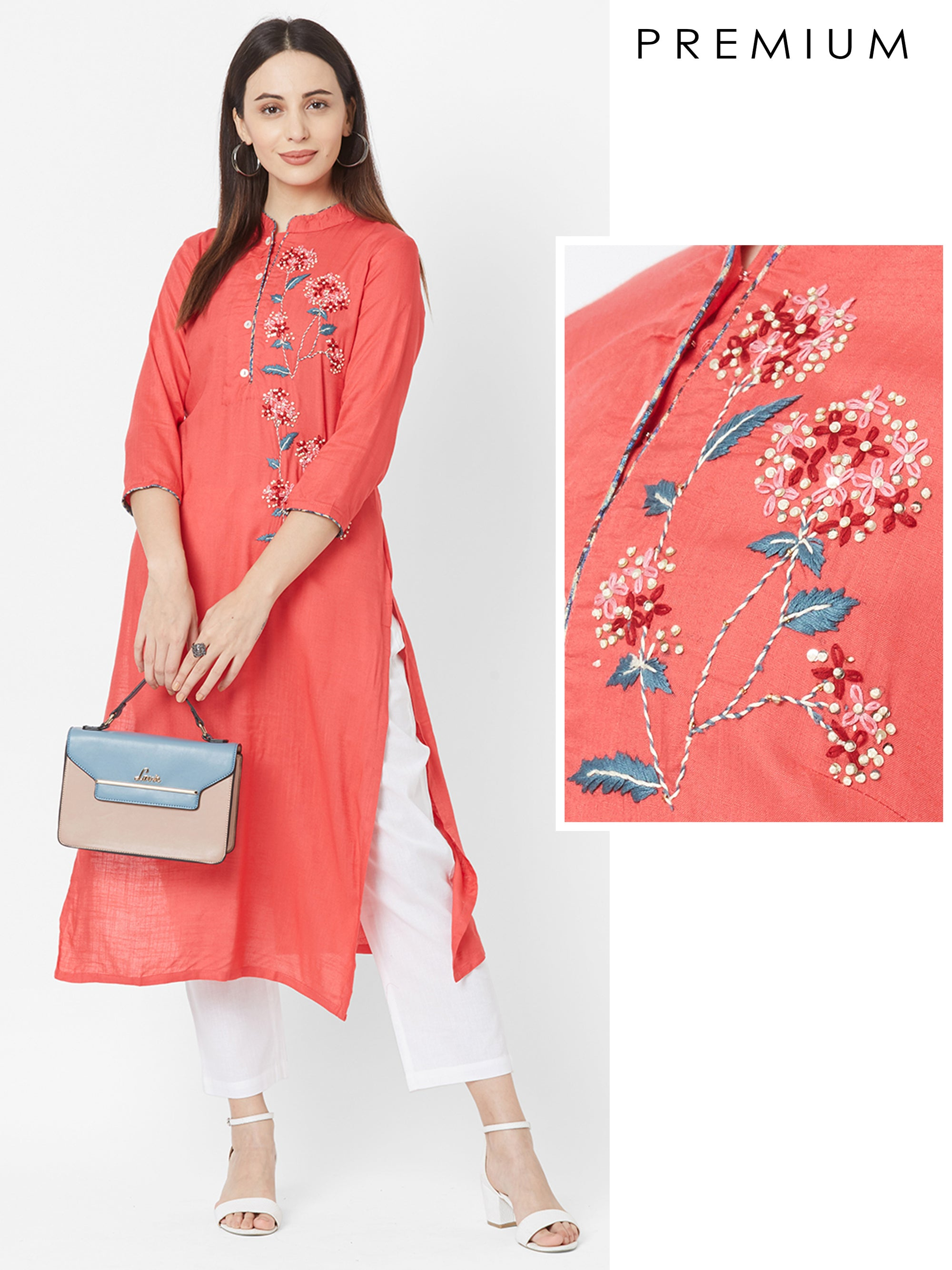 French Knot Floral Embroidered Rayon Kurta – Peach