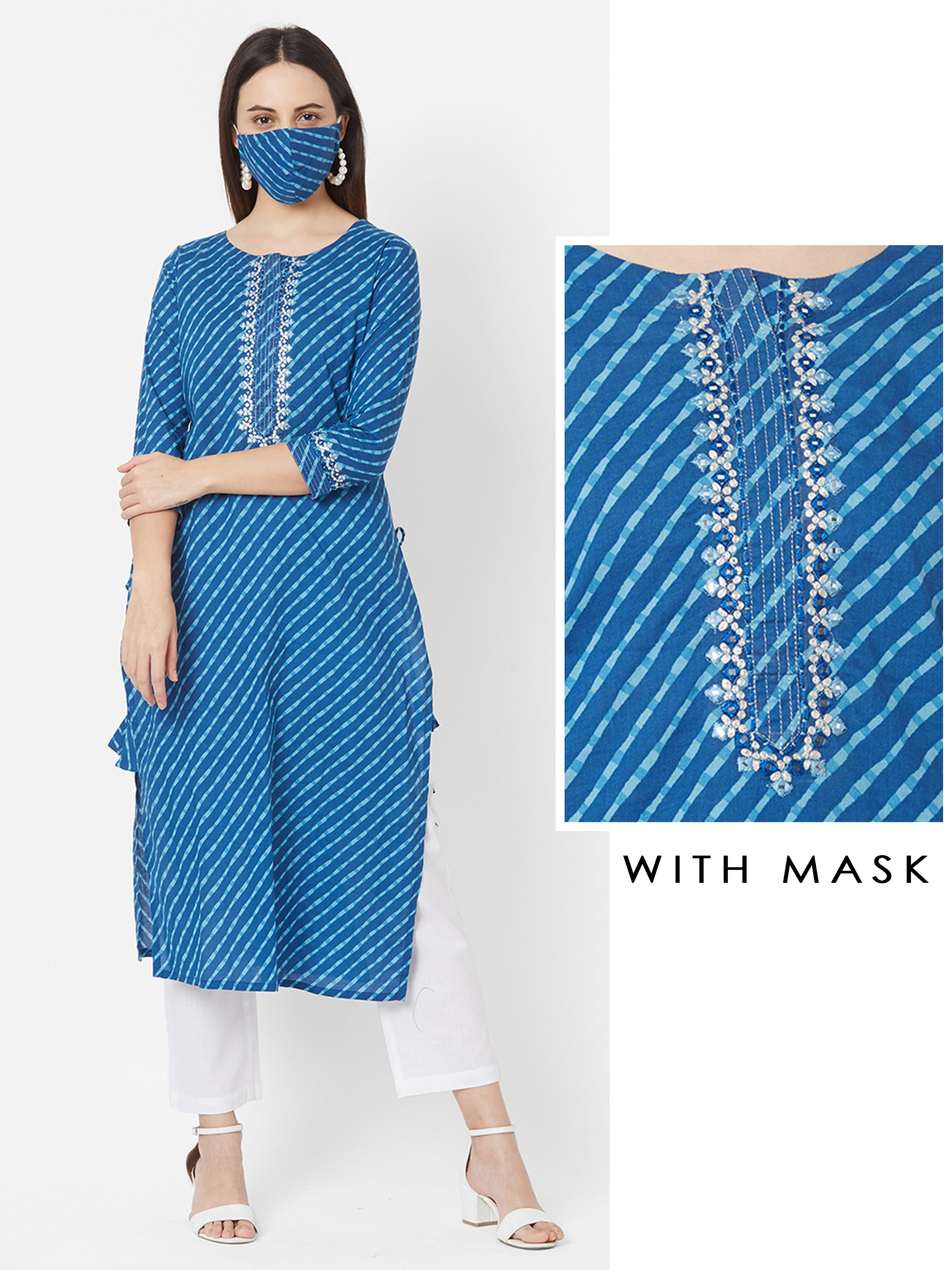 Lehariya Printed & Mirror worked Cotton Kurta with Mask – Indigo Blue