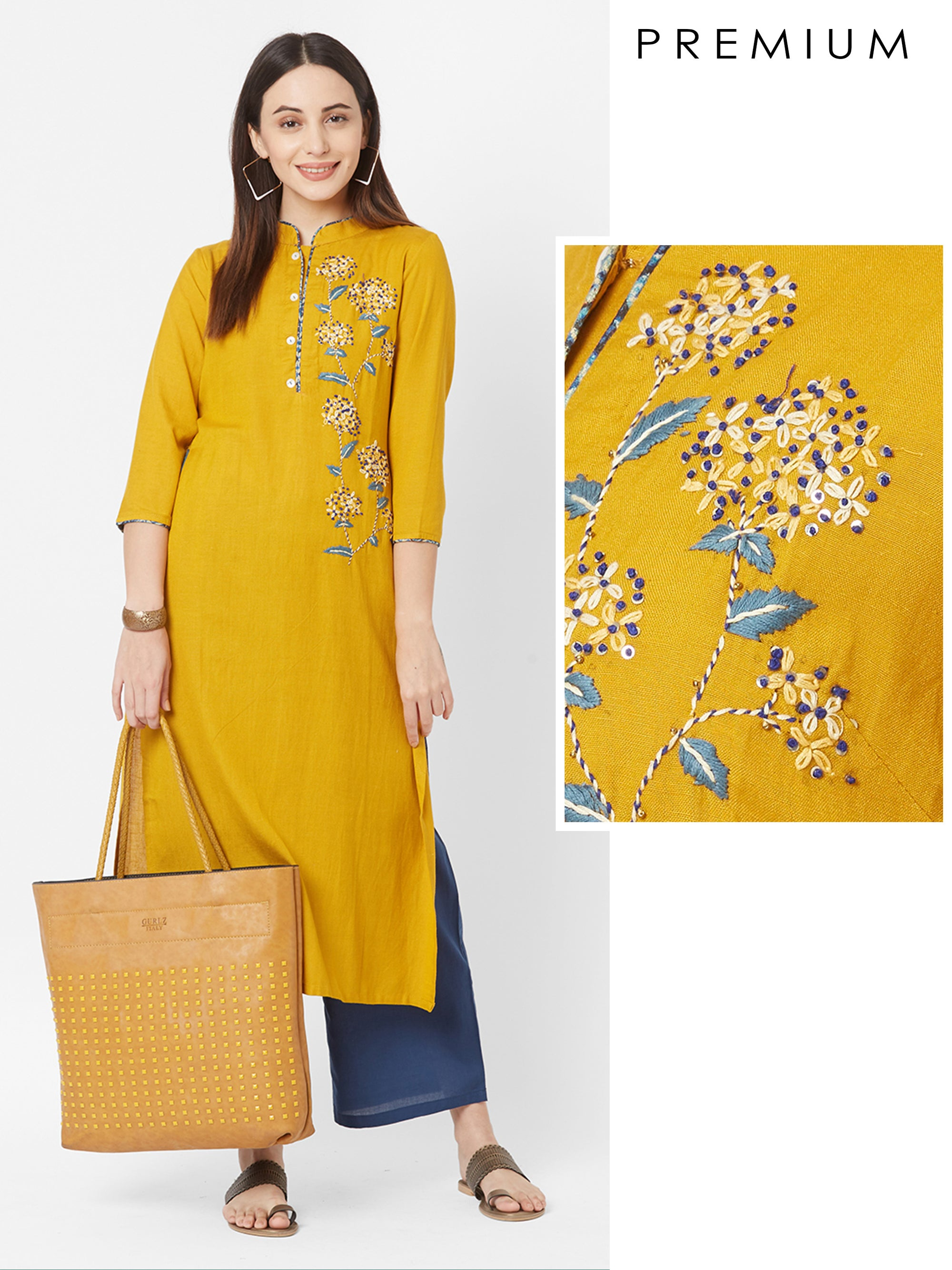 French Knot Floral Embroidered Rayon Kurta – Mustard