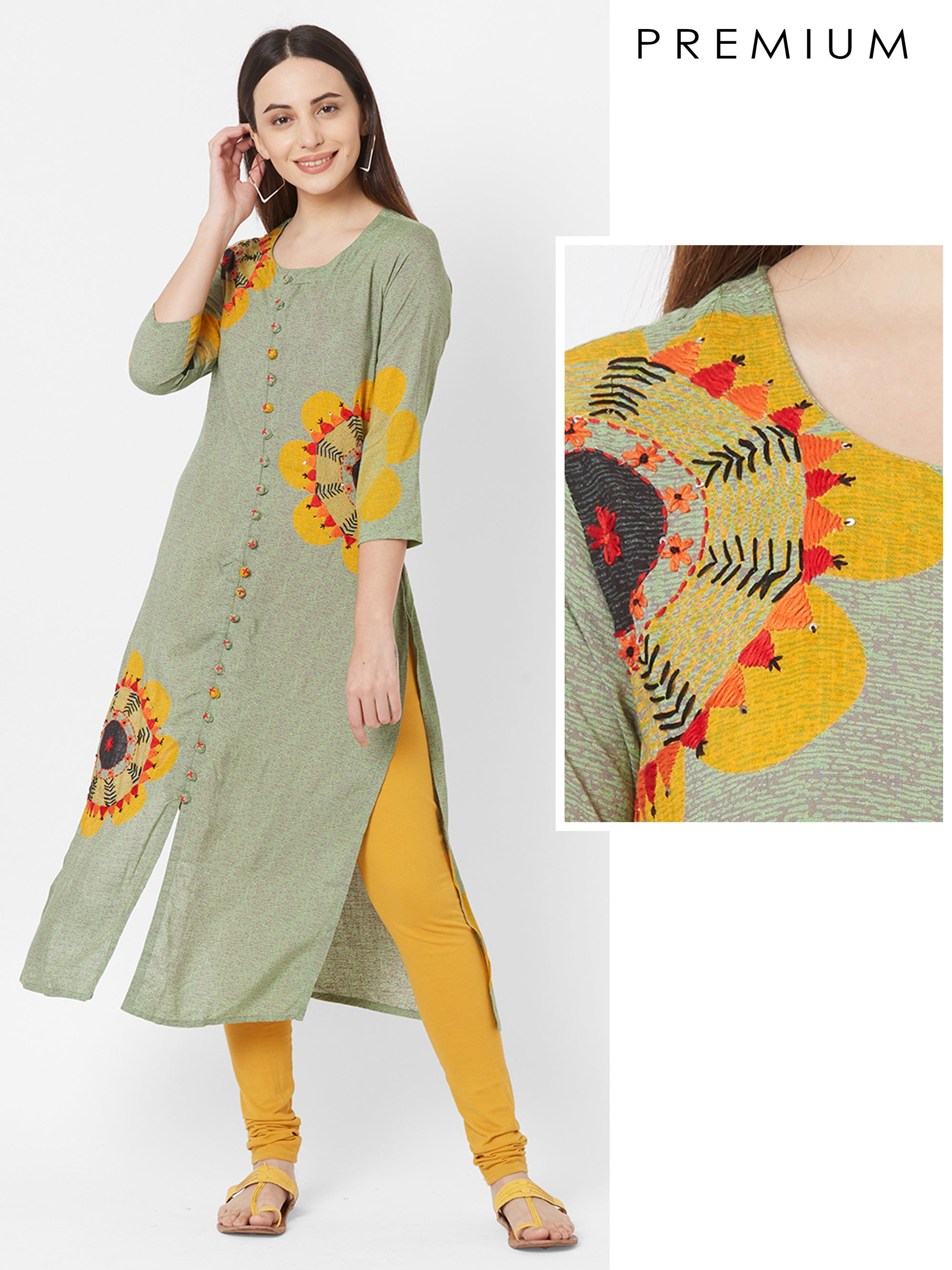 Floral Printed & Hand Embroidered Premium Rayon Kurta – Pale Green