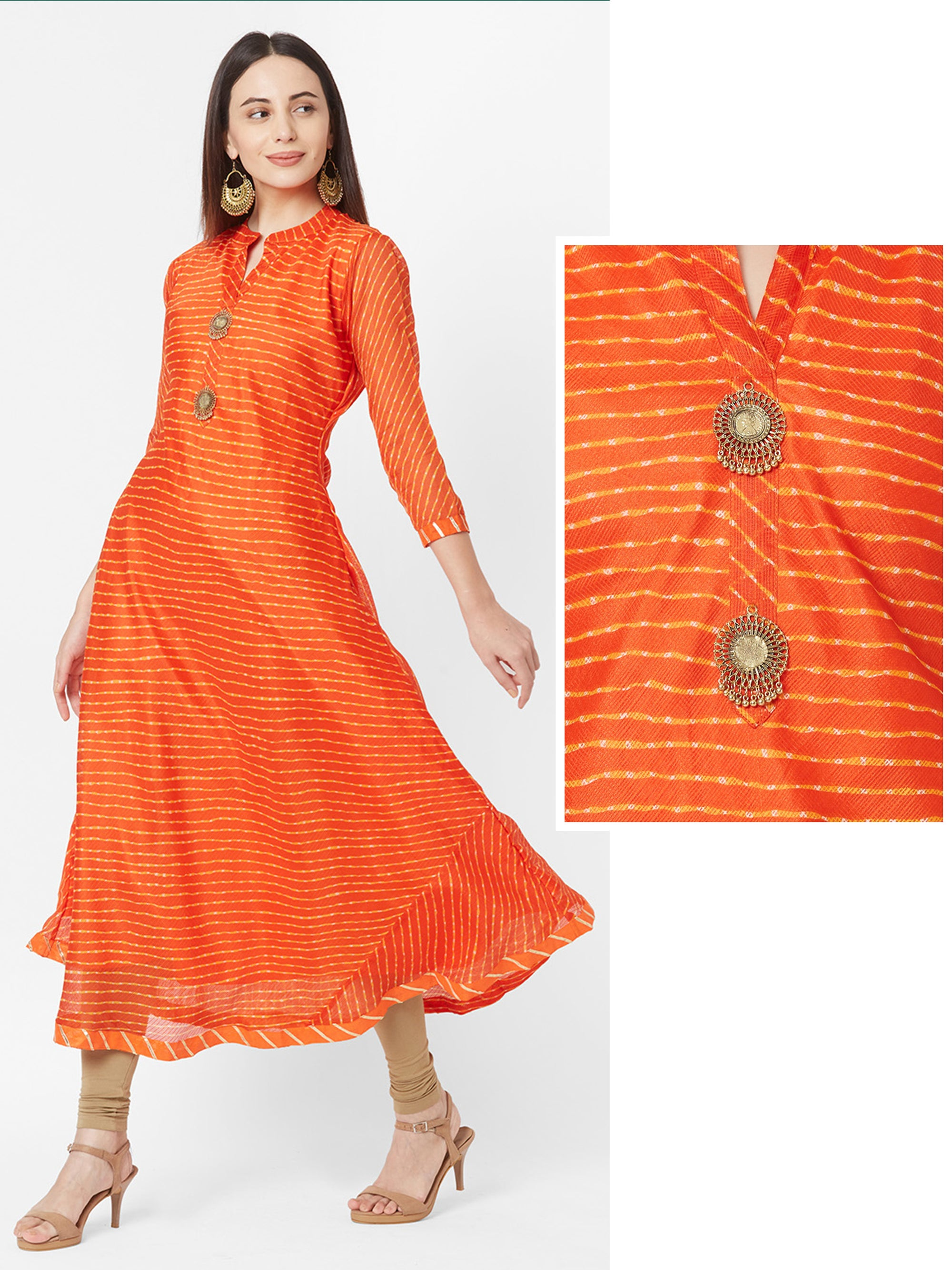 Lehariya Printed & Ghungroo Brooch Bias Cut Maxi – Orange