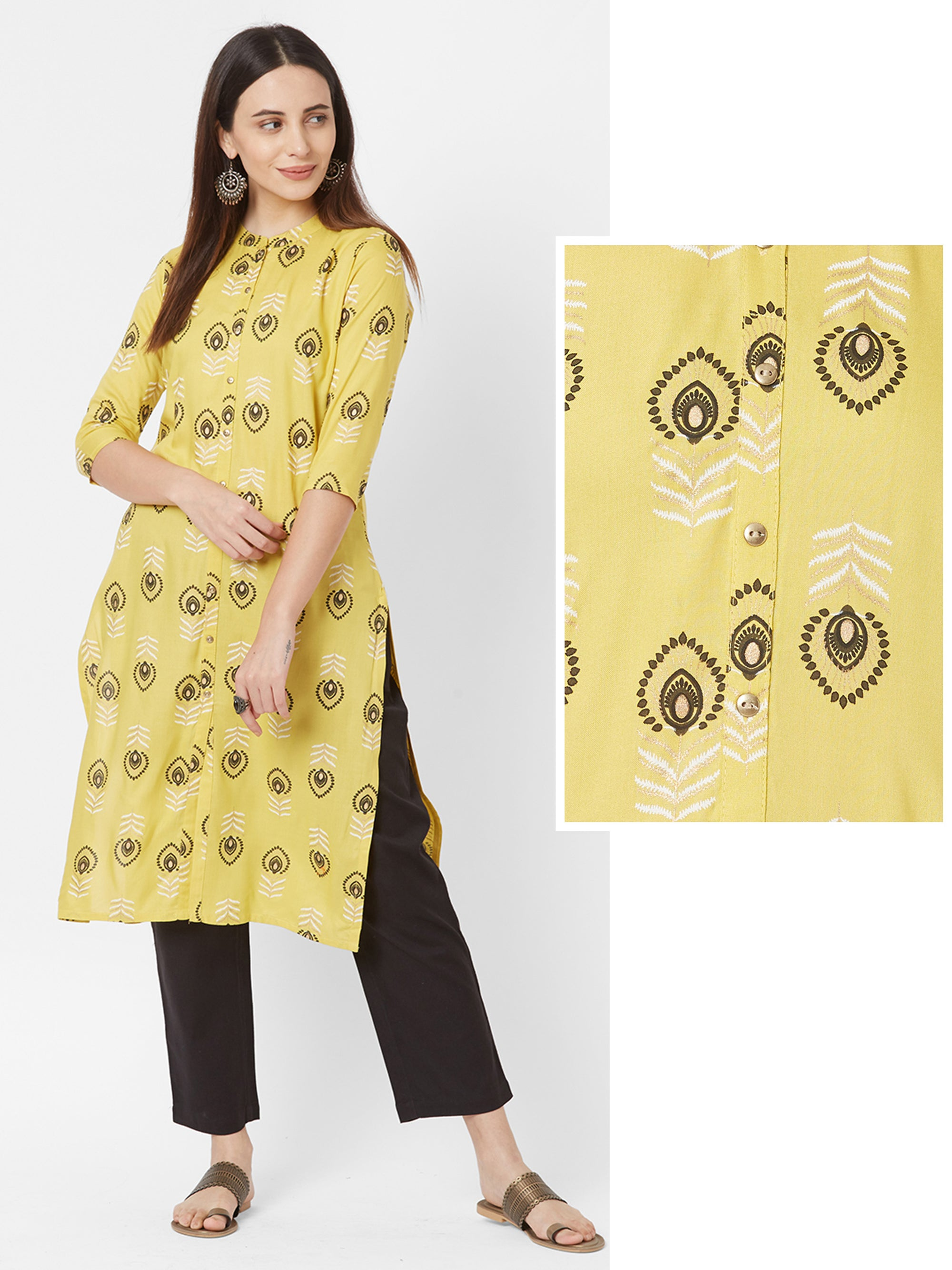 Peacock Feather Printed Kurta – Mustard