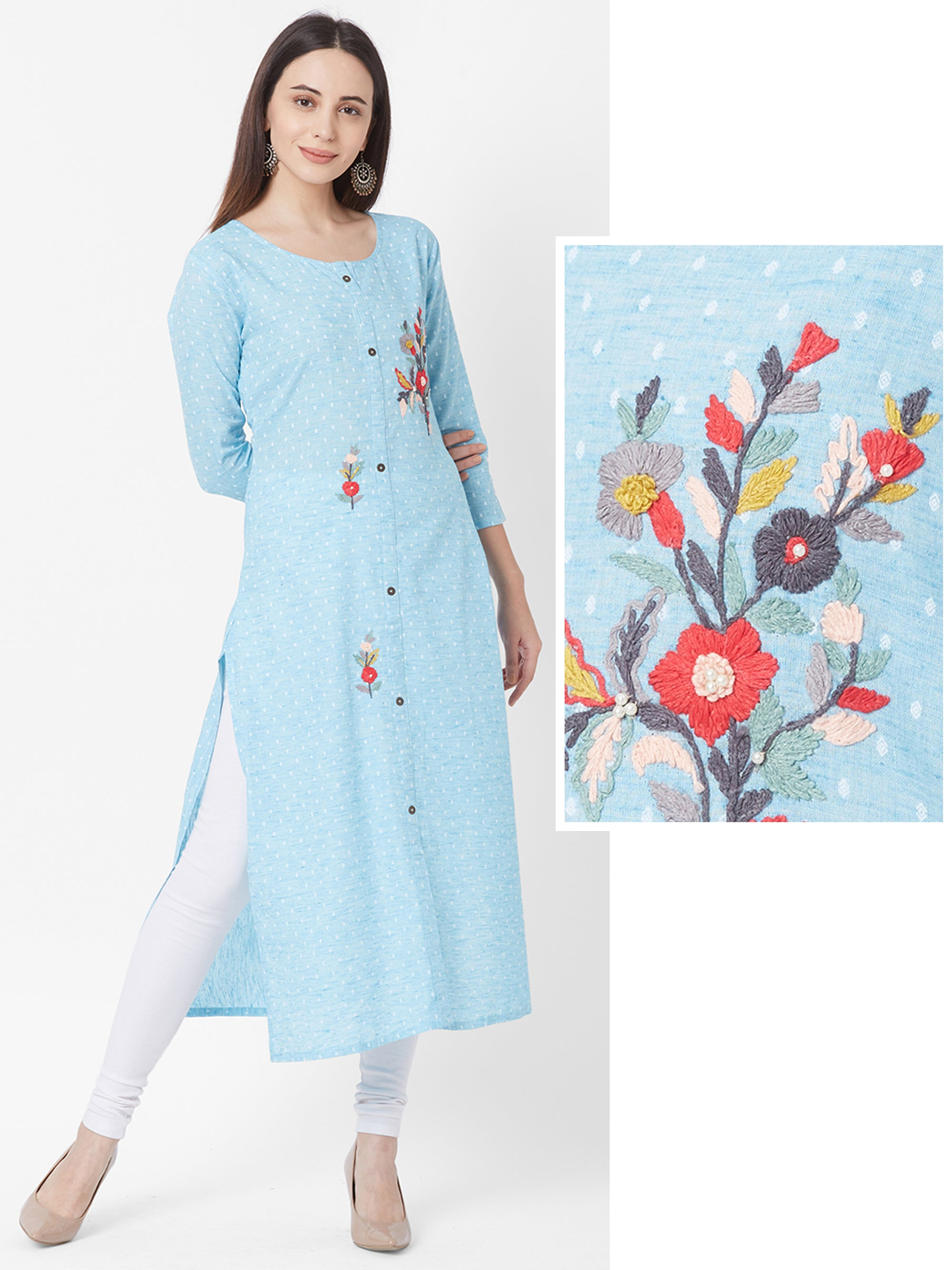 Minimal Printed & Floral Embroidered Bead worked Kurta