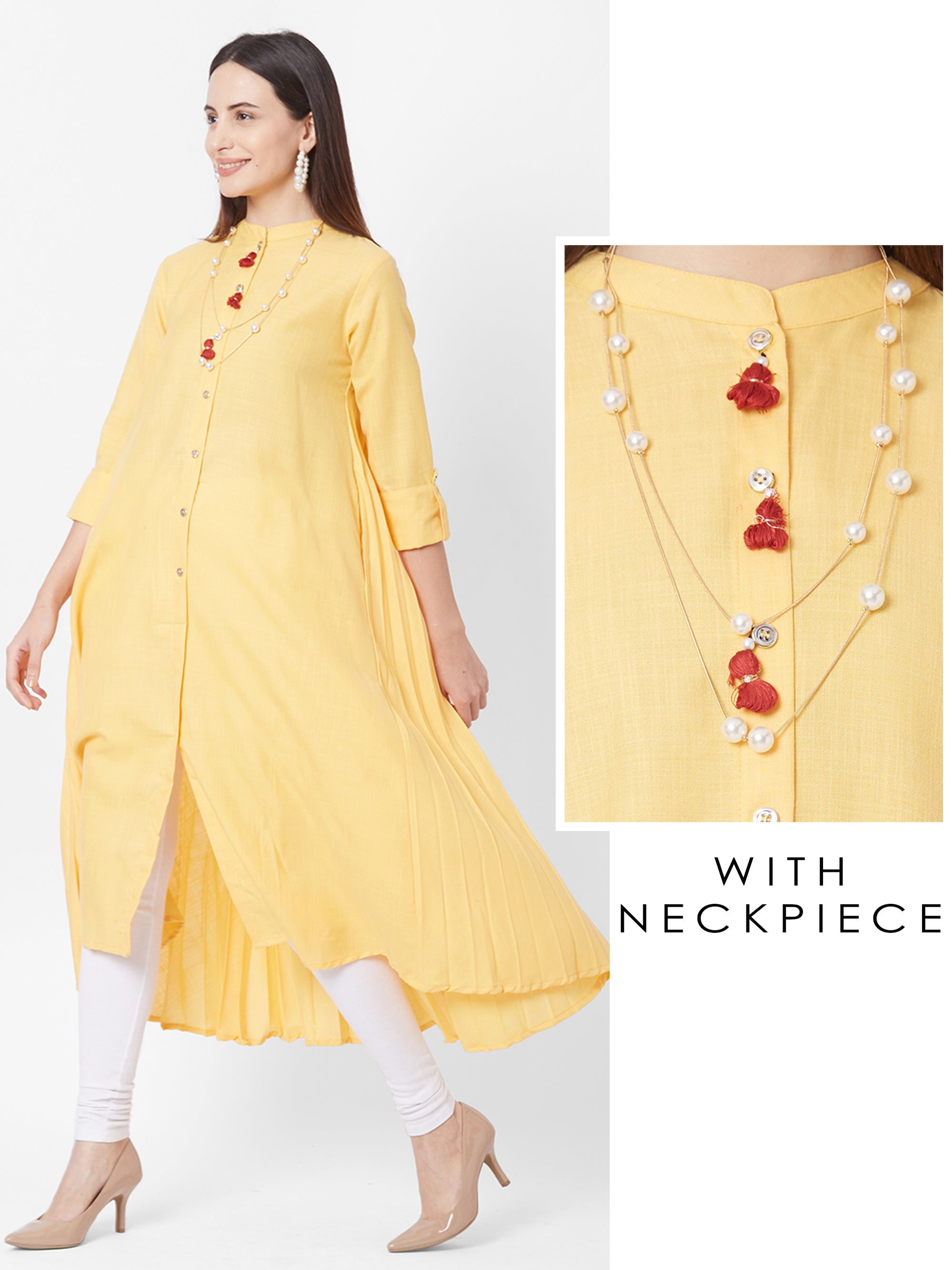 Solid A-Line Kurta with Neckpiece – Yellow