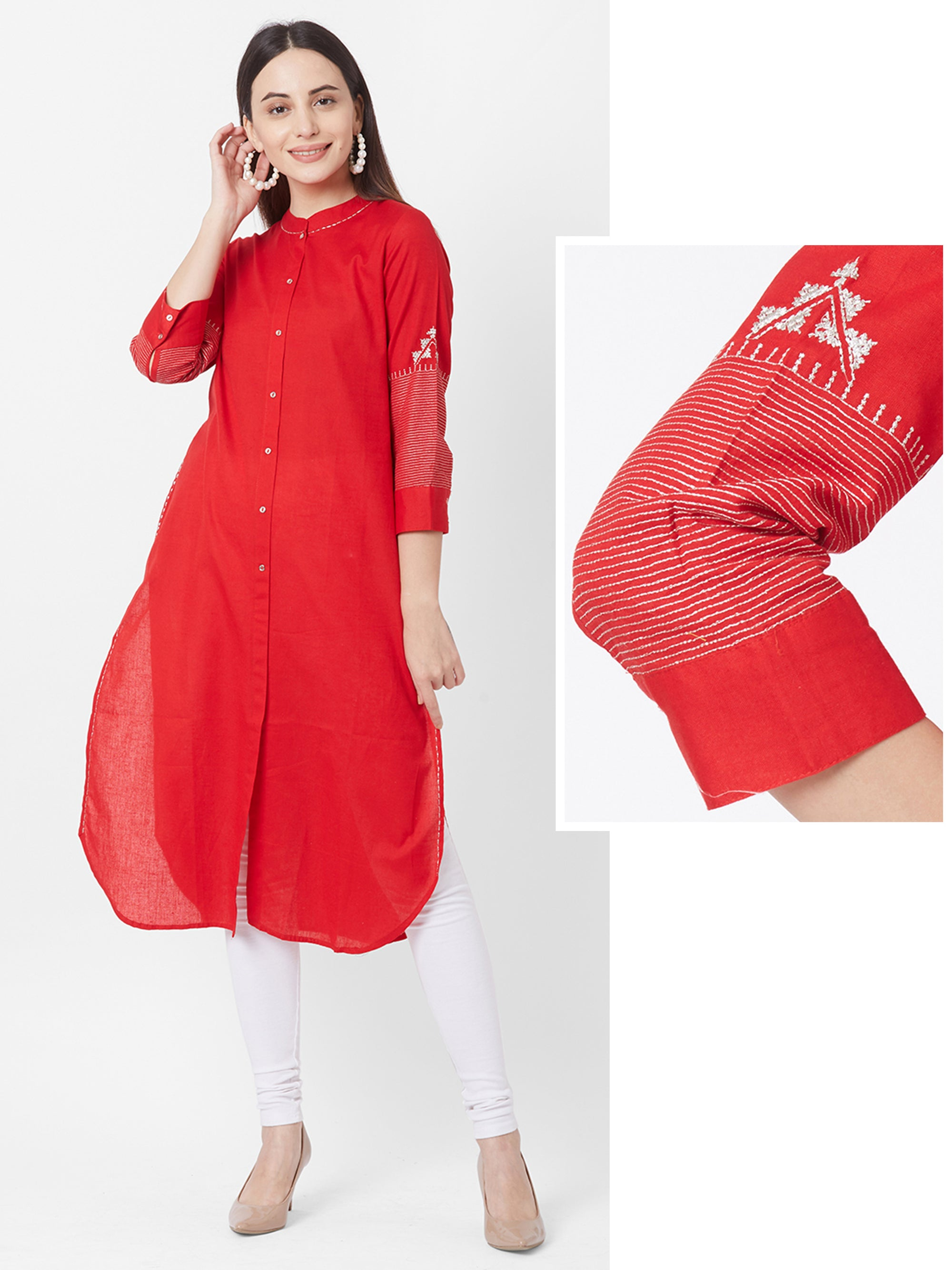 Zari Embroidered Solid Cotton Kurta – Cherry Red