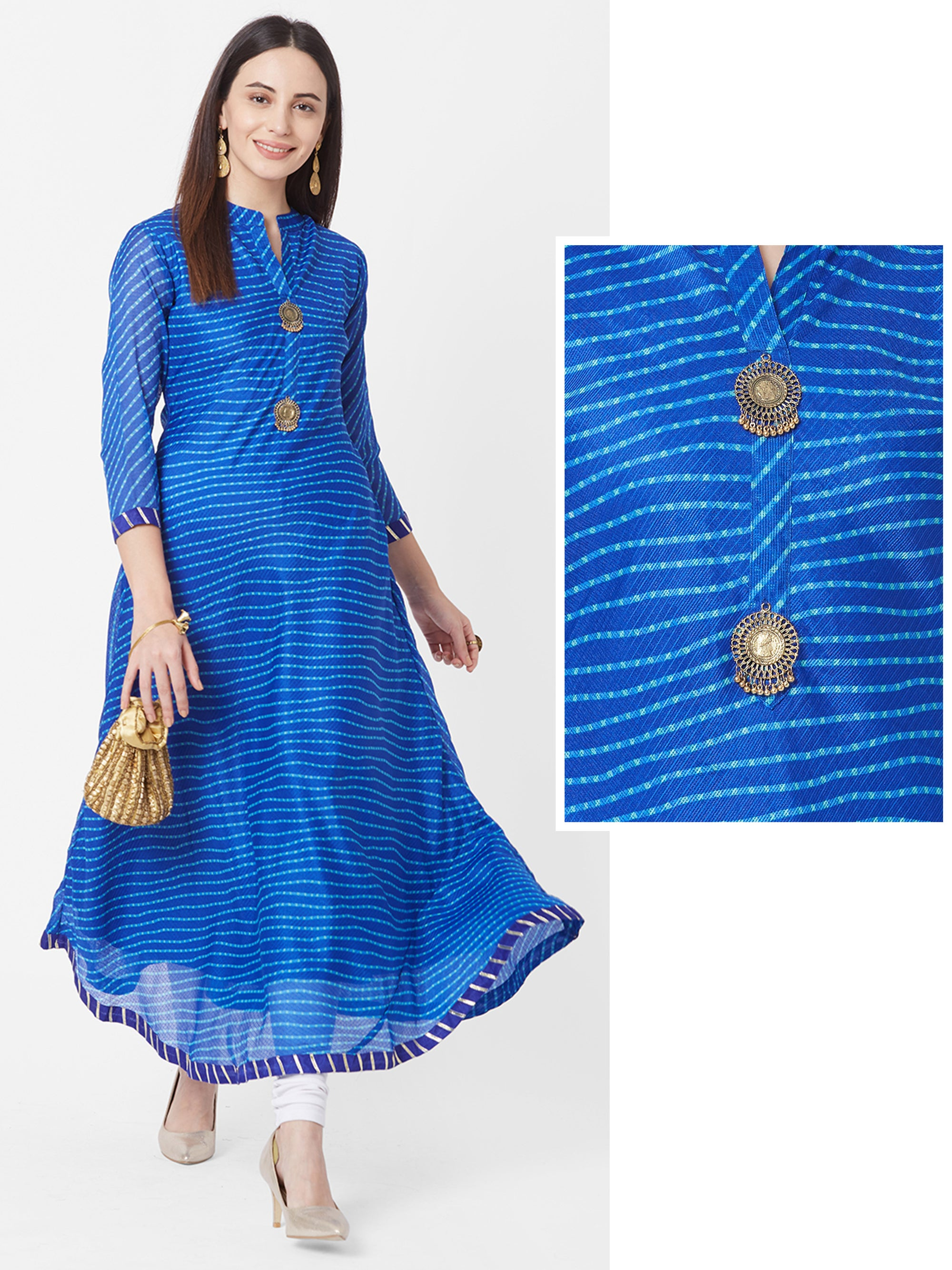 Lehariya Printed & Ghungroo Brooch Bias Cut Maxi – Royal Blue