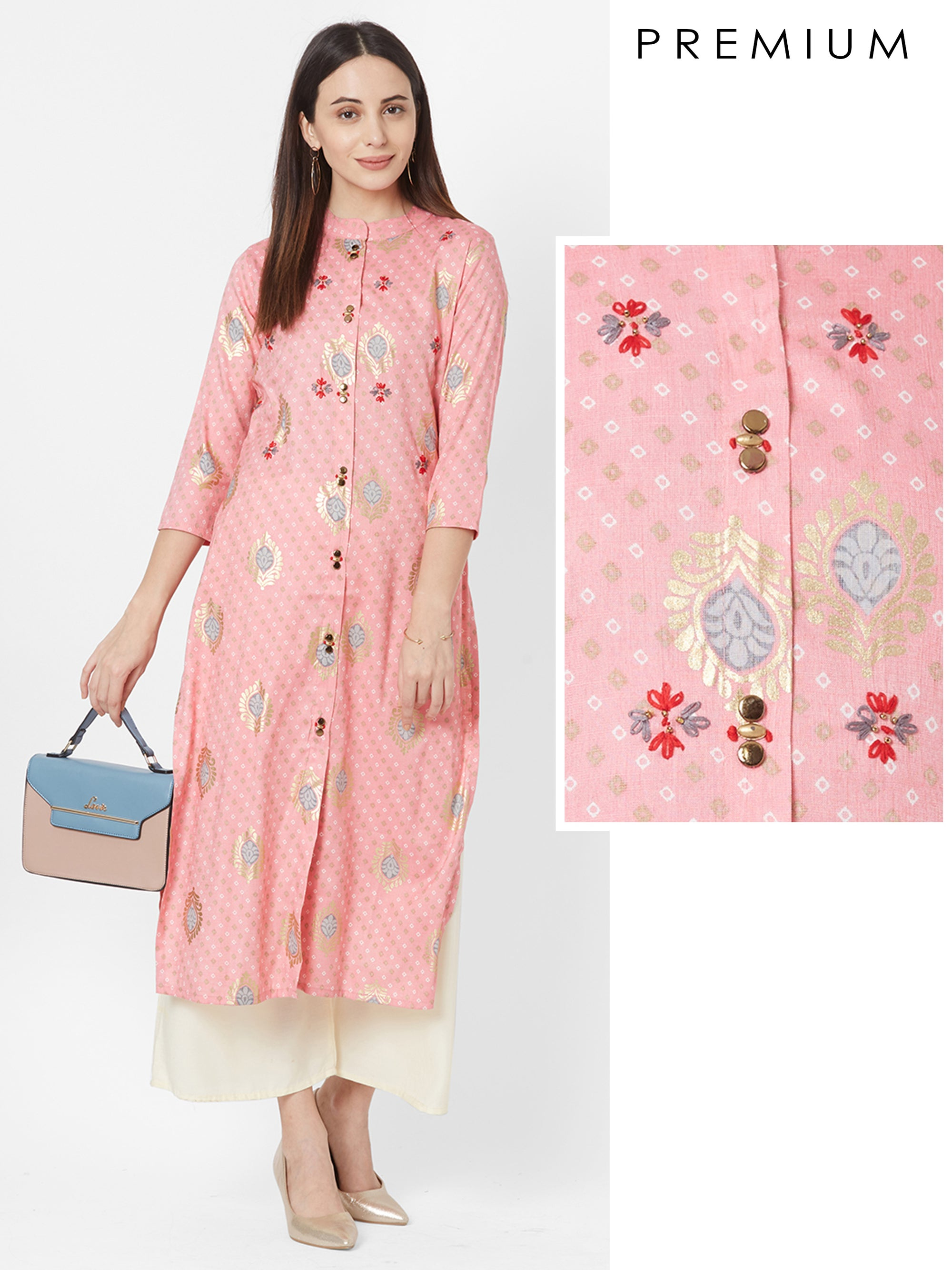Floral Embroidered & Bandhani Printed Kurta – Candy Pink