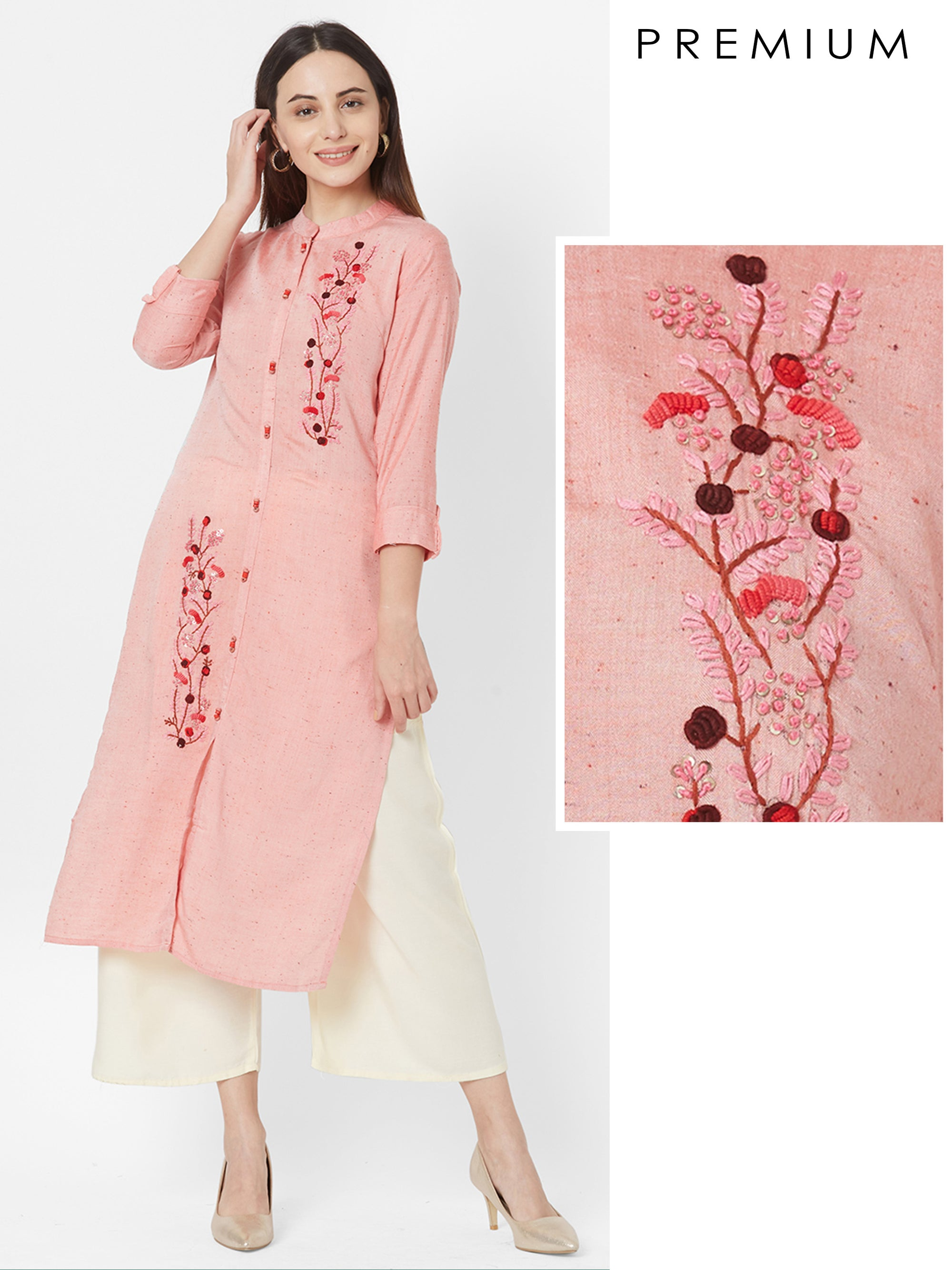Bullion Knot Embroidered Wooden Buttoned Kurta