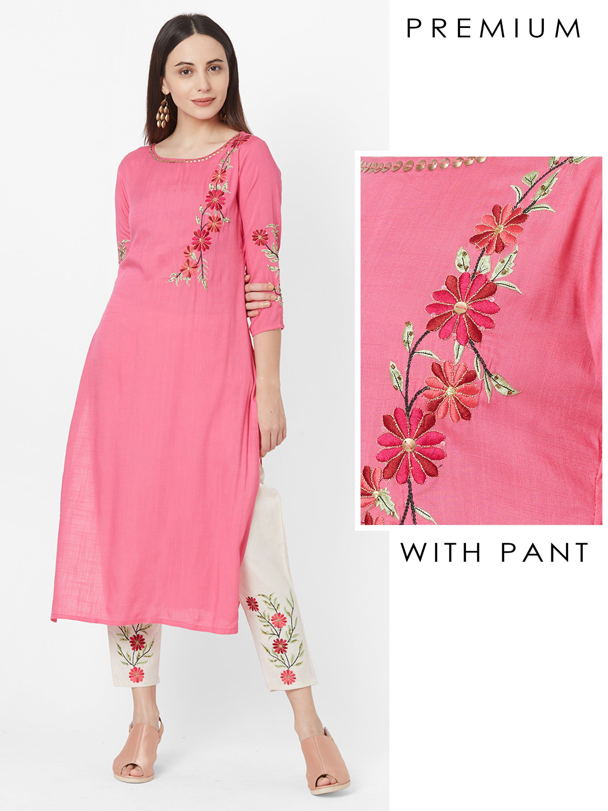 Placement Embroidered Kurta with Floral Embroidered Pant