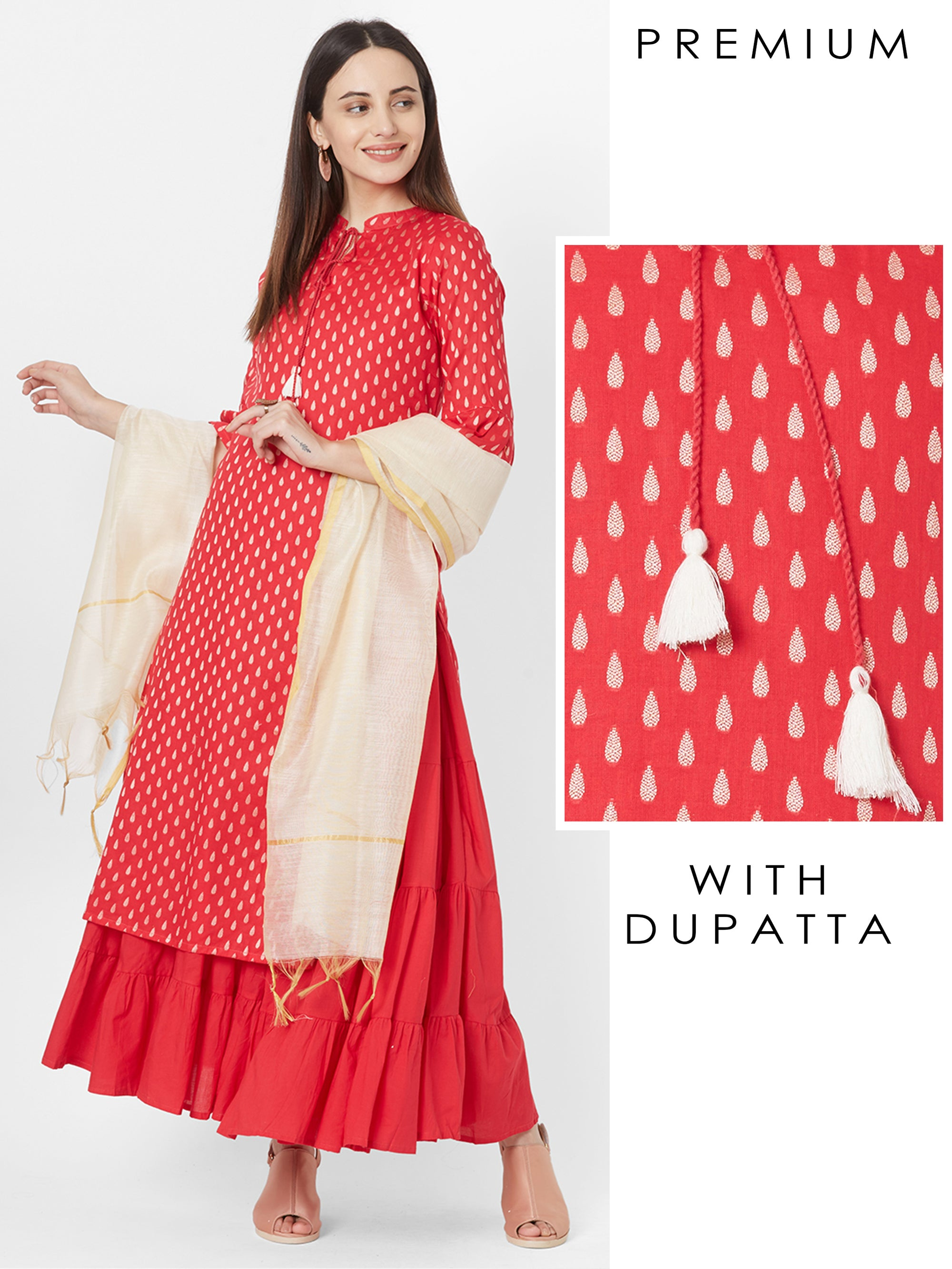 Tilak Woven Printed Kurta with Tiered Maxi & Dupatta
