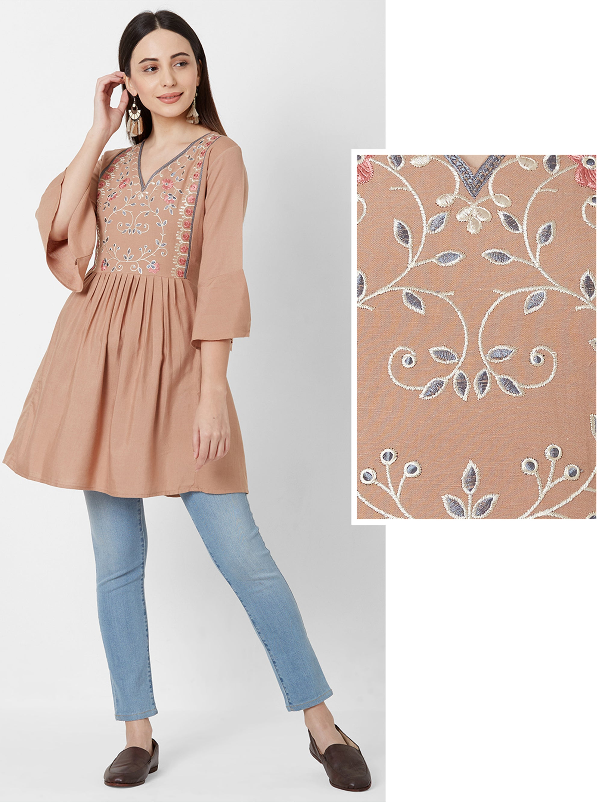 Floral Embroidered Short Kurta – Beige