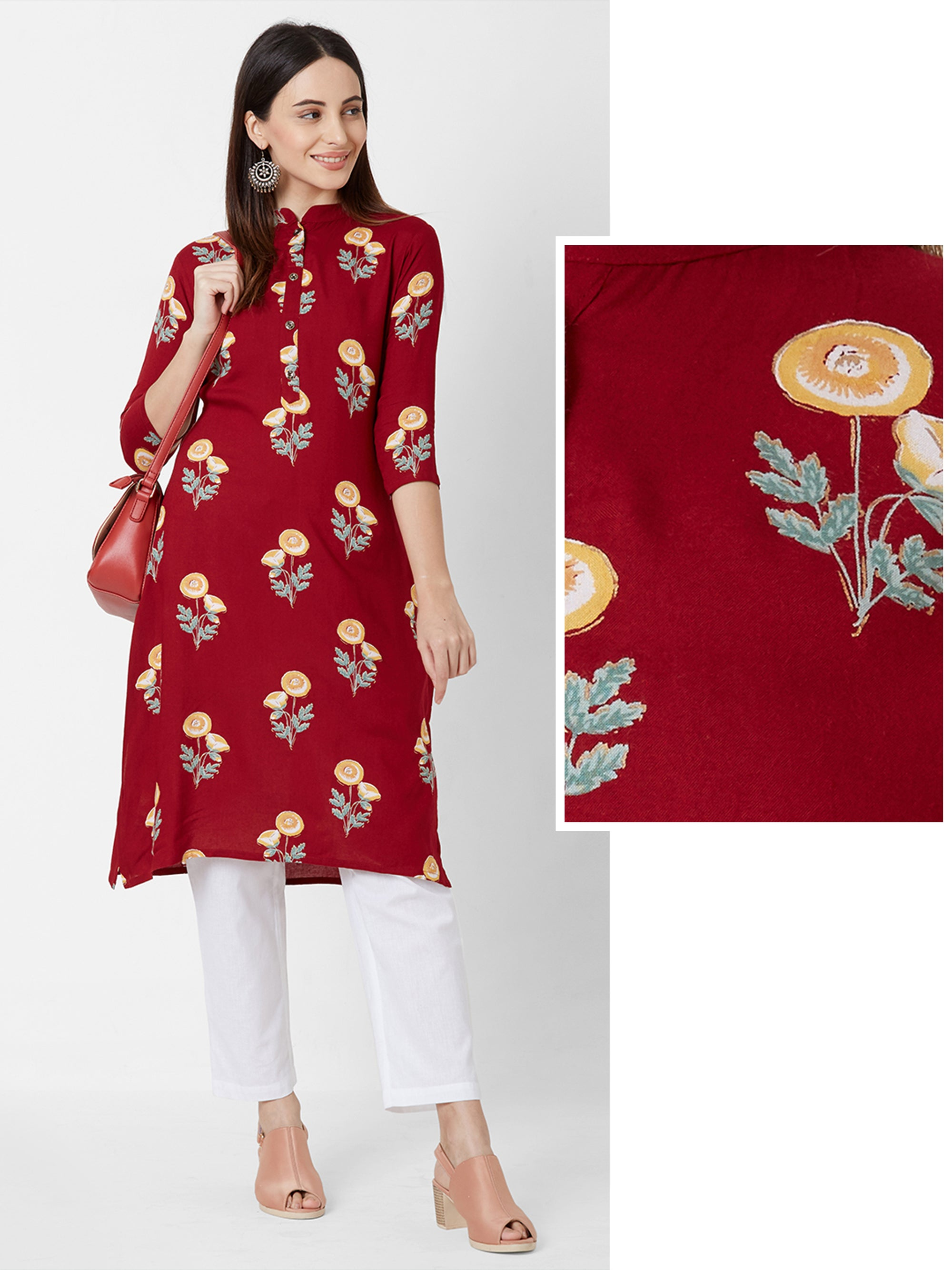 Alora Floral Printed Cotton Kurta – Red