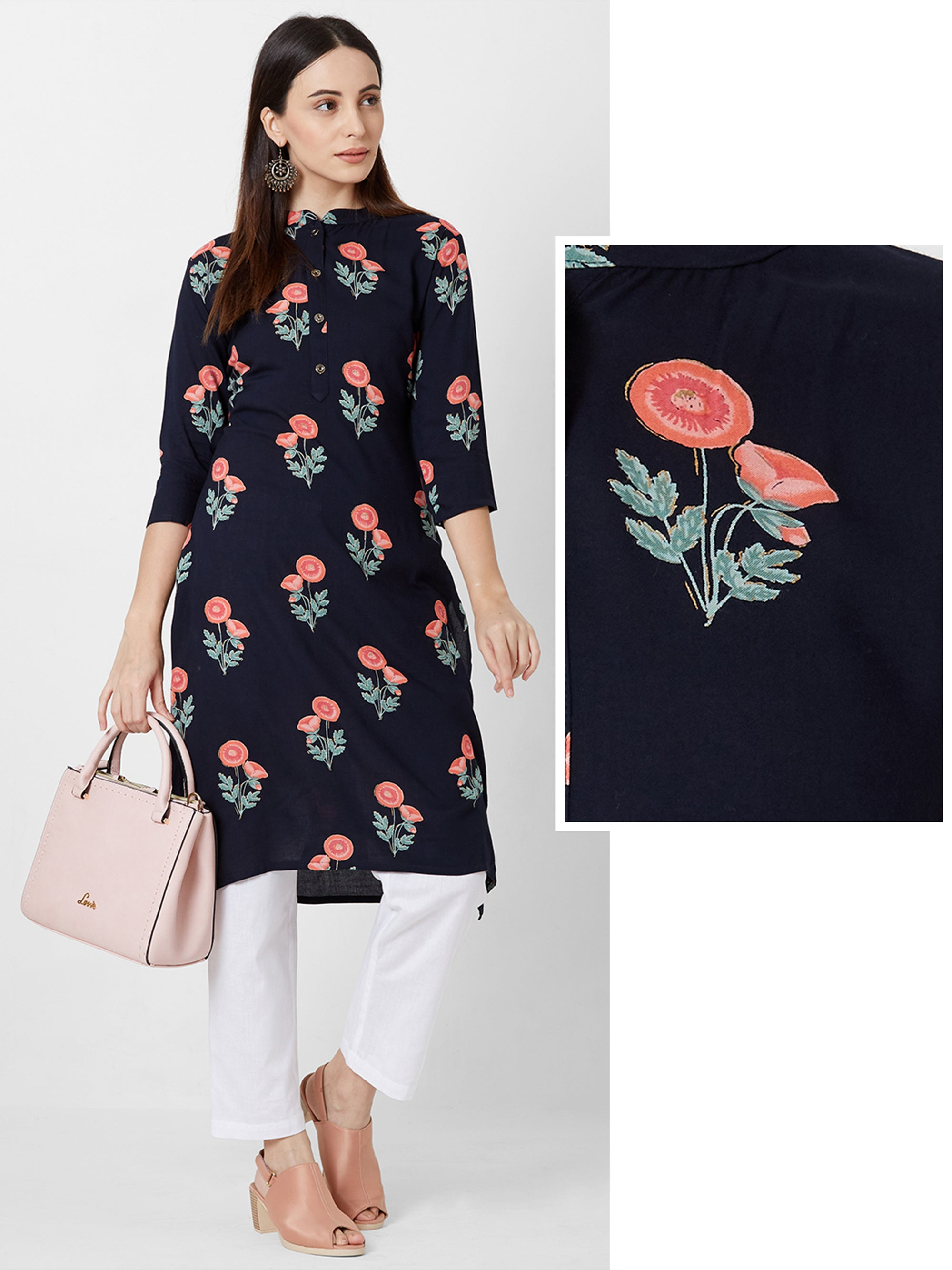 Alora Floral Printed Cotton Kurta – Navy Blue