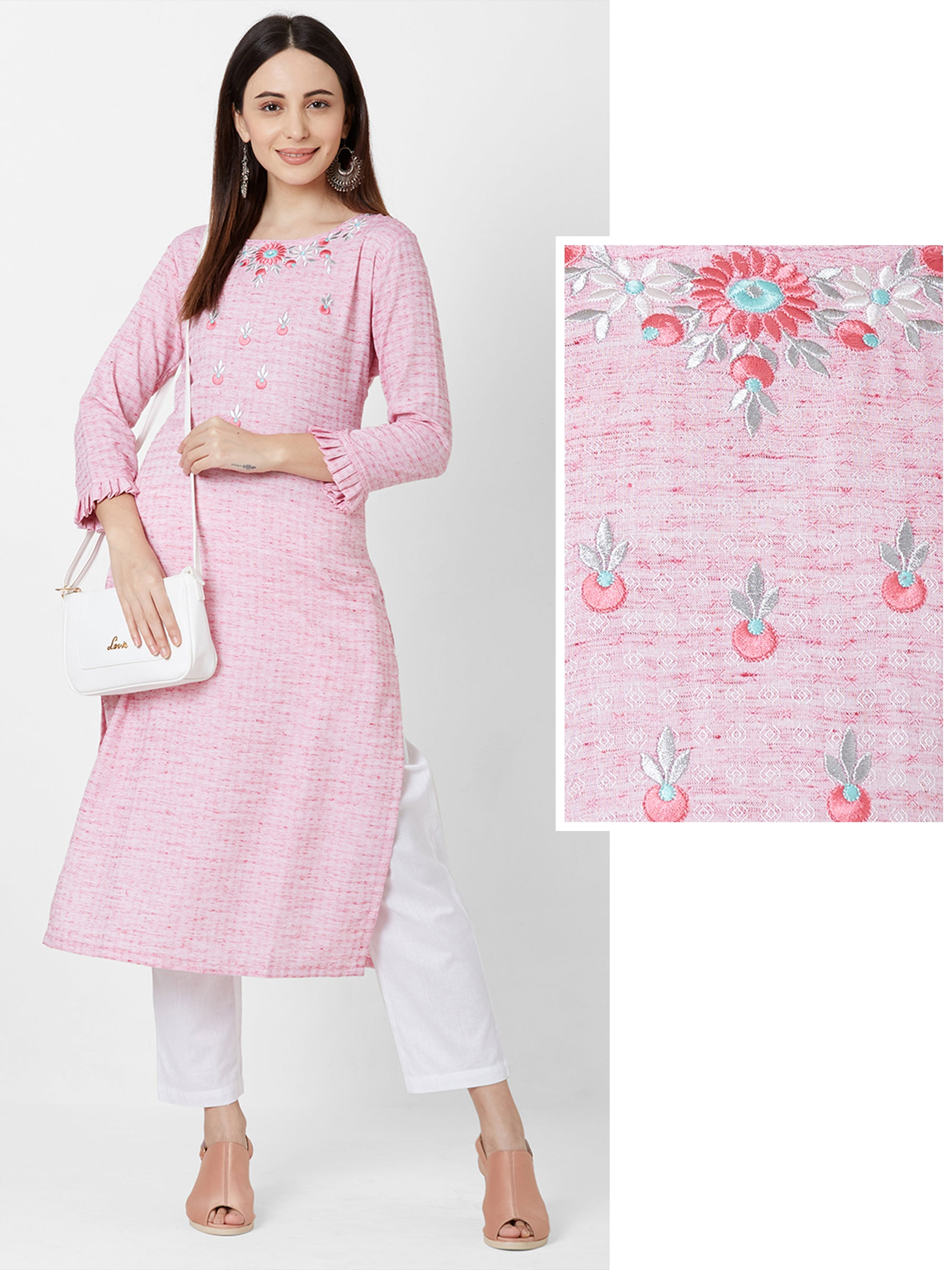 Cherry Embroidered & Random Checkered Cotton Kurta – Pink