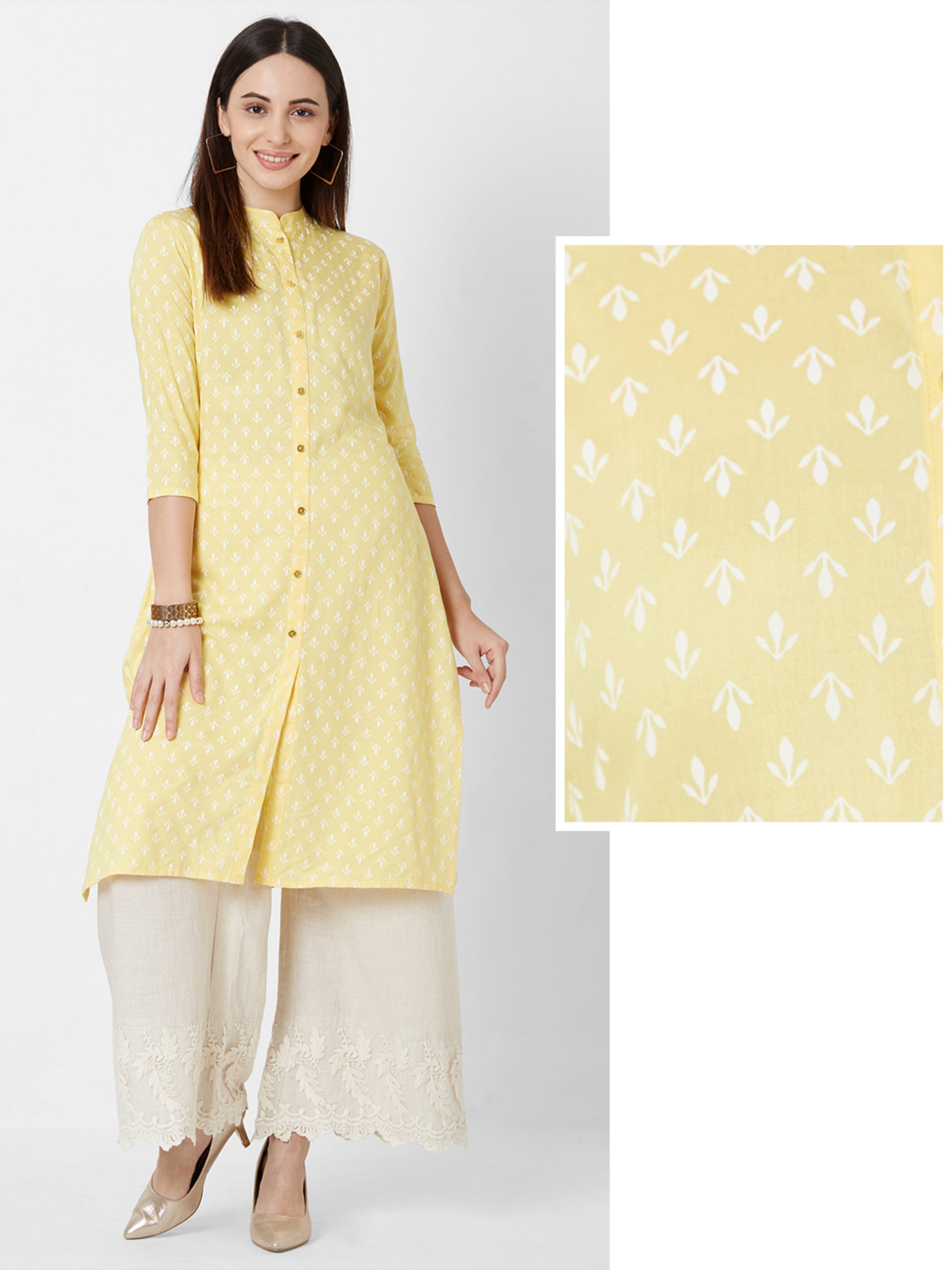 Minimal Floral Printed Cotton Kurta – Yellow