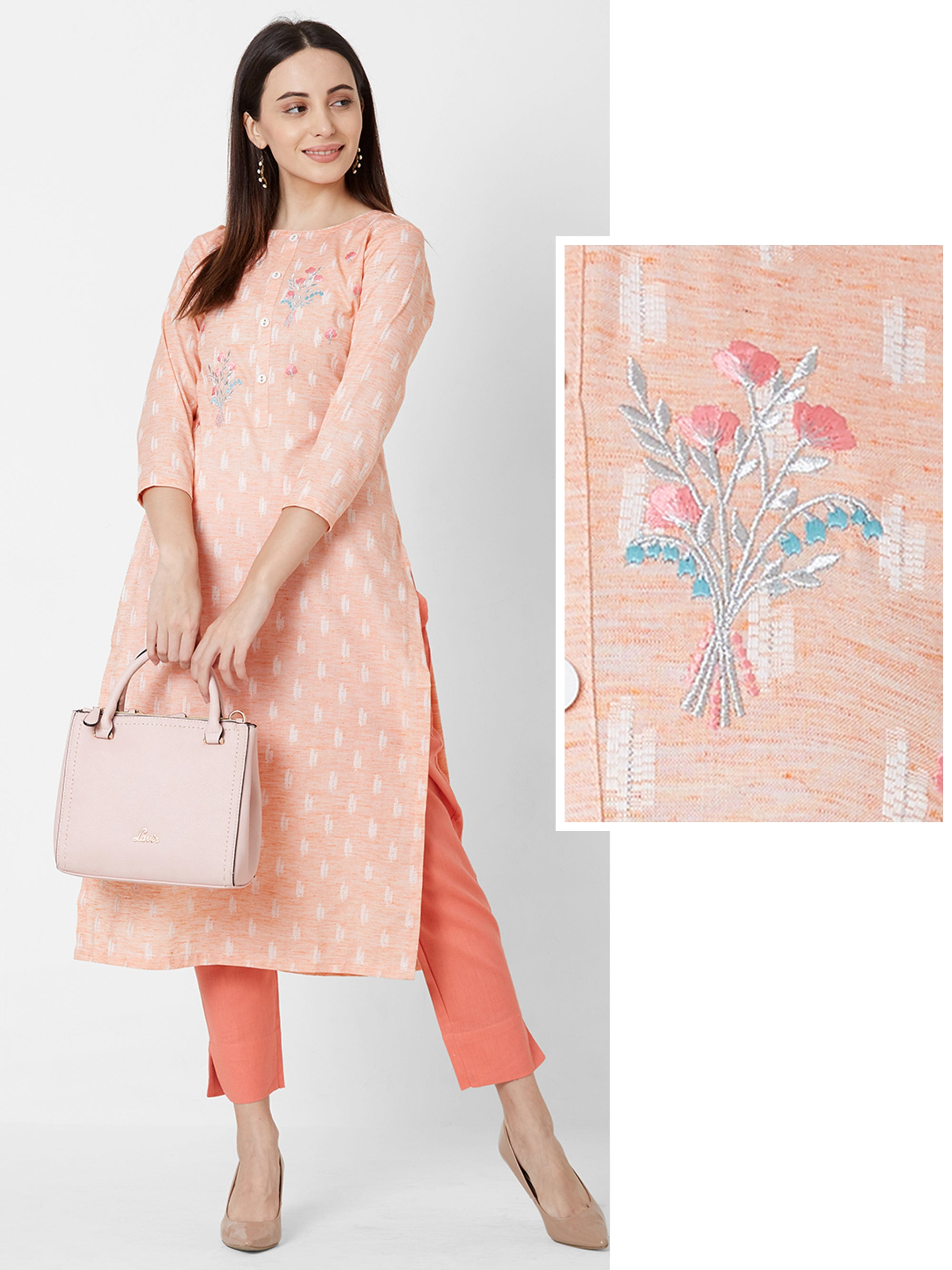 Floral Embroidered & Ikkat Printed Cotton Kurta – Pastel Orange