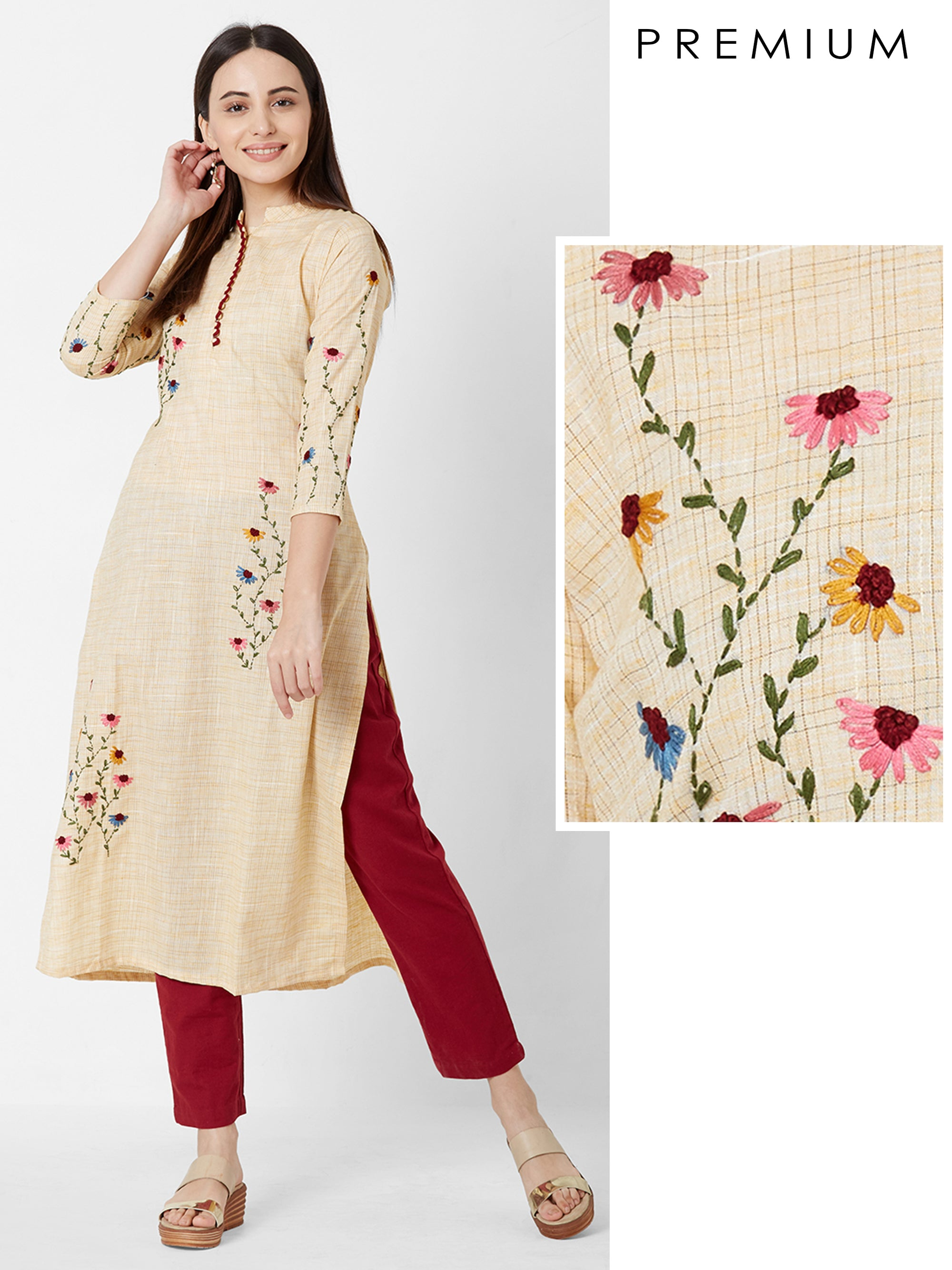 Vibrant Floral Embroidered Cotton Kurta – Yellow