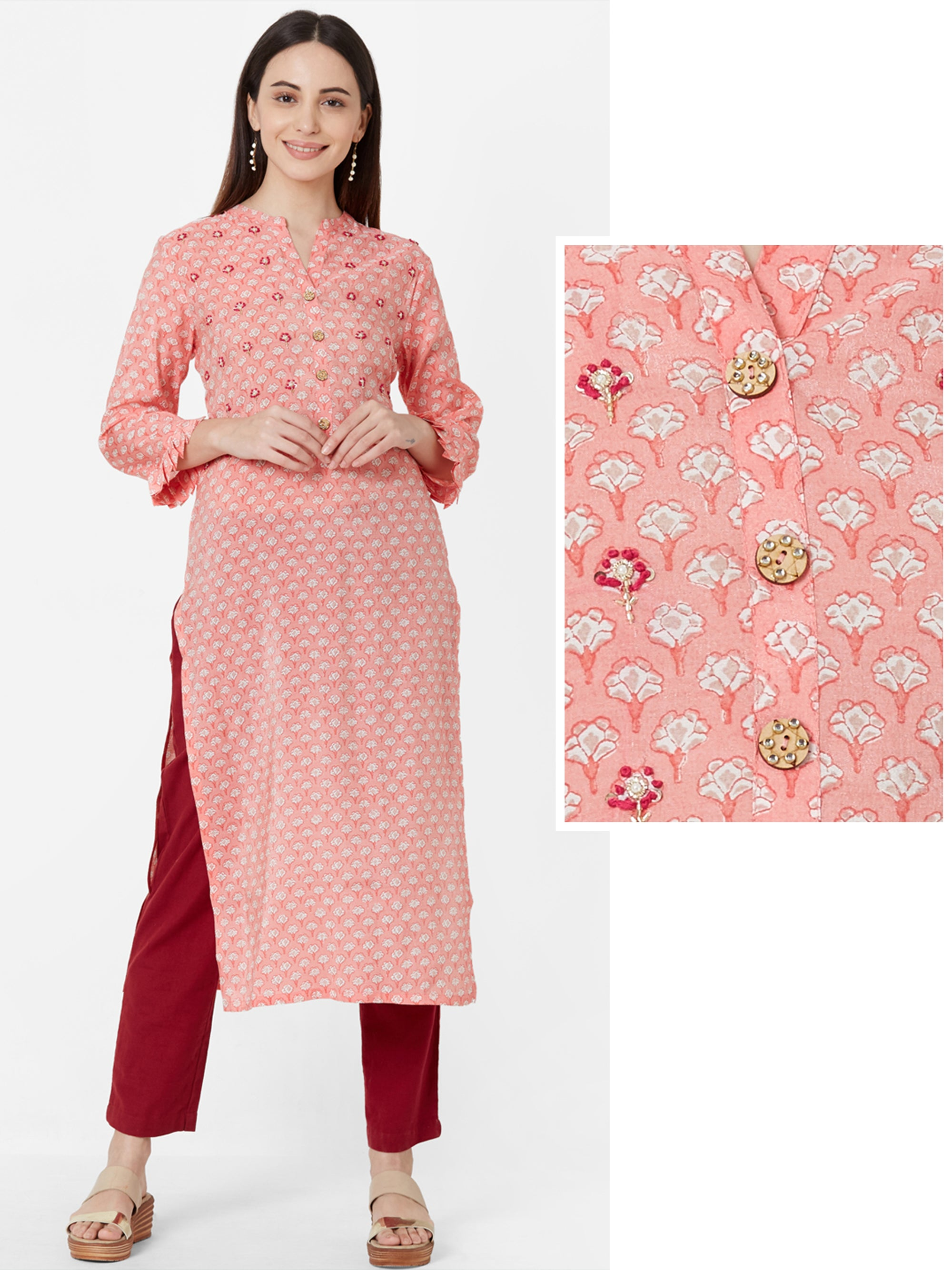 Madora Floral Printed & Embroidered Cotton Kurta
