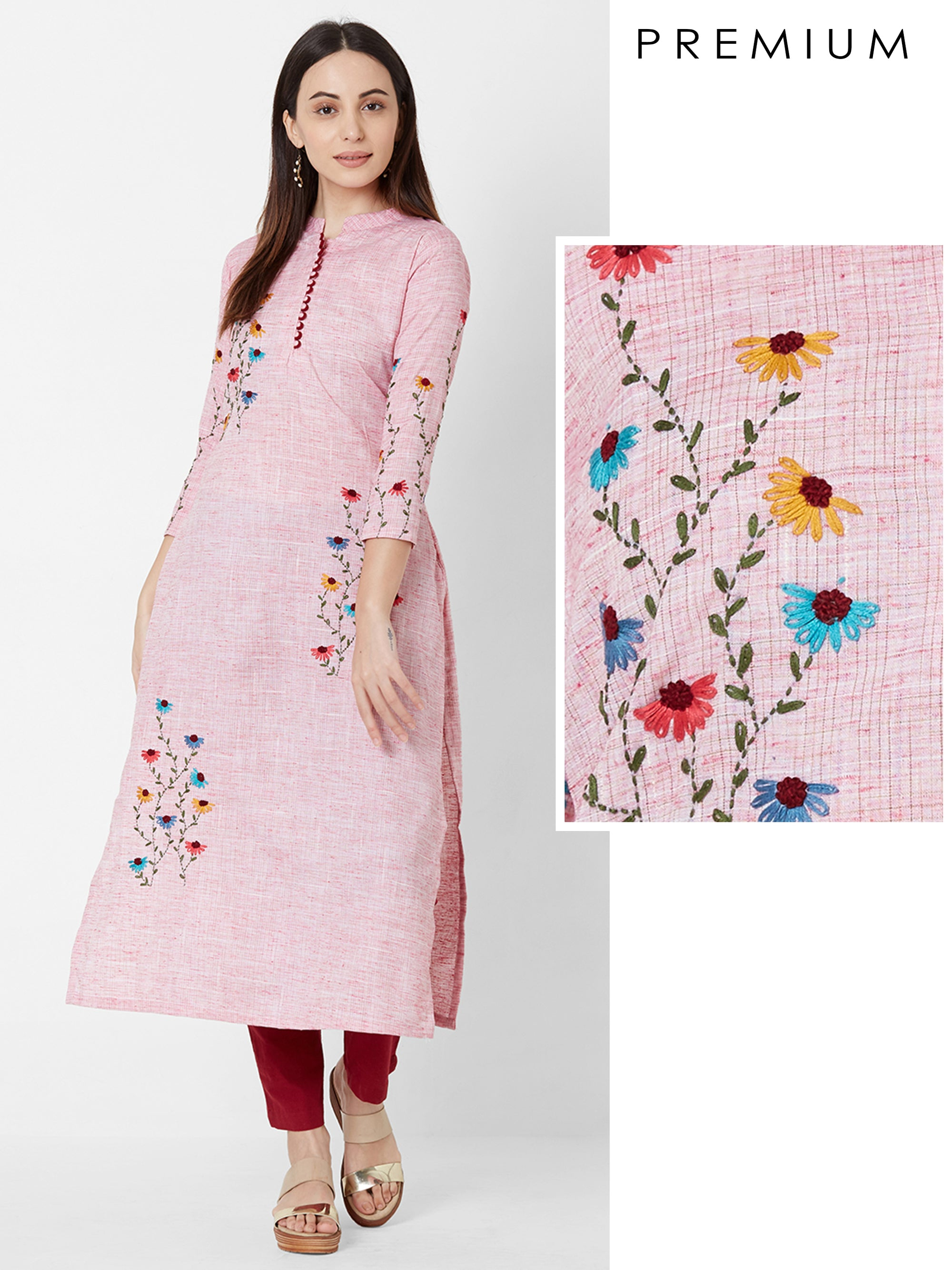 Vibrant Floral Embroidered Cotton Kurta – Pink