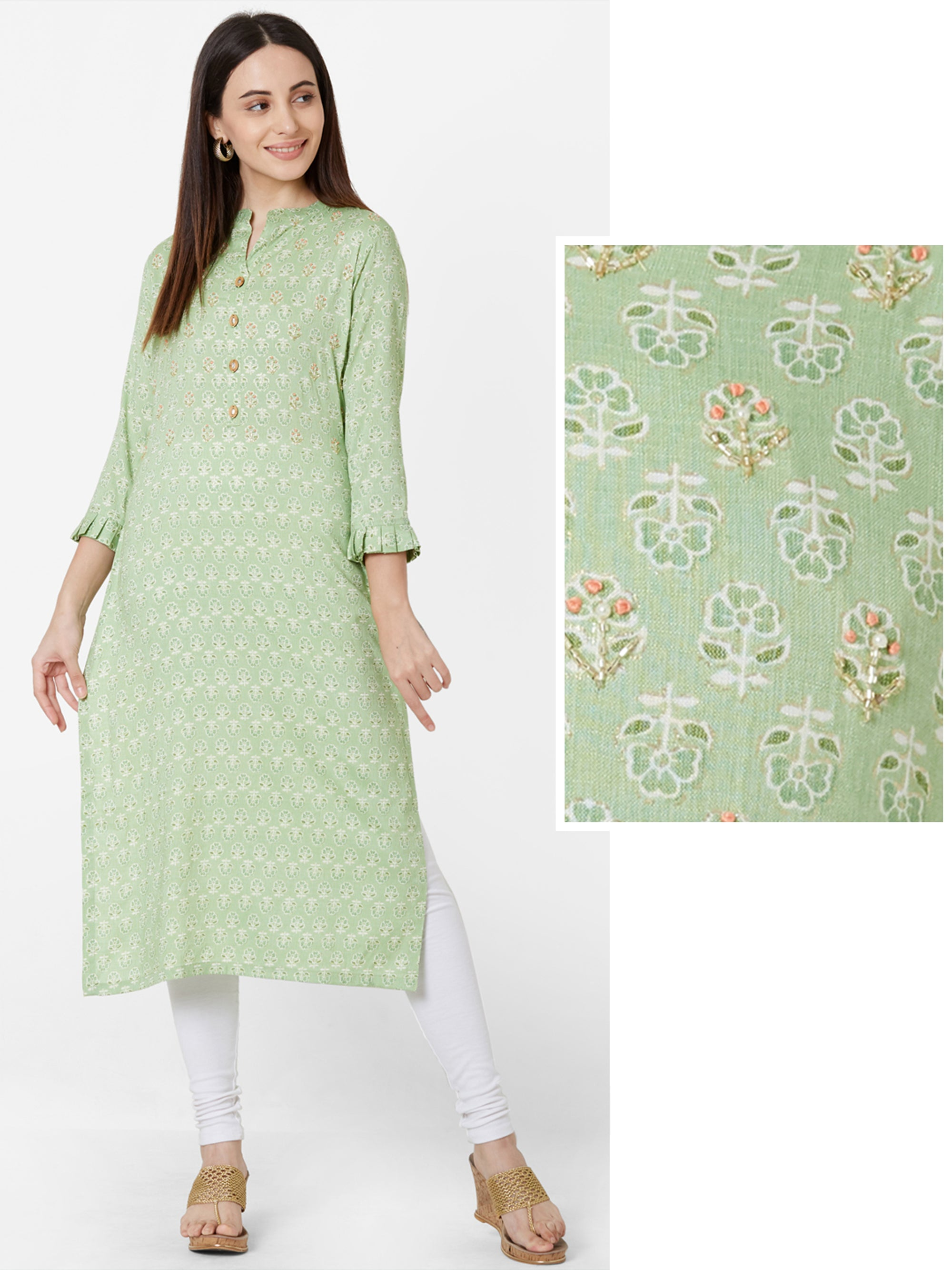 Floral Printed & Cutdana Embellished Cotton Kurta – Mint Green