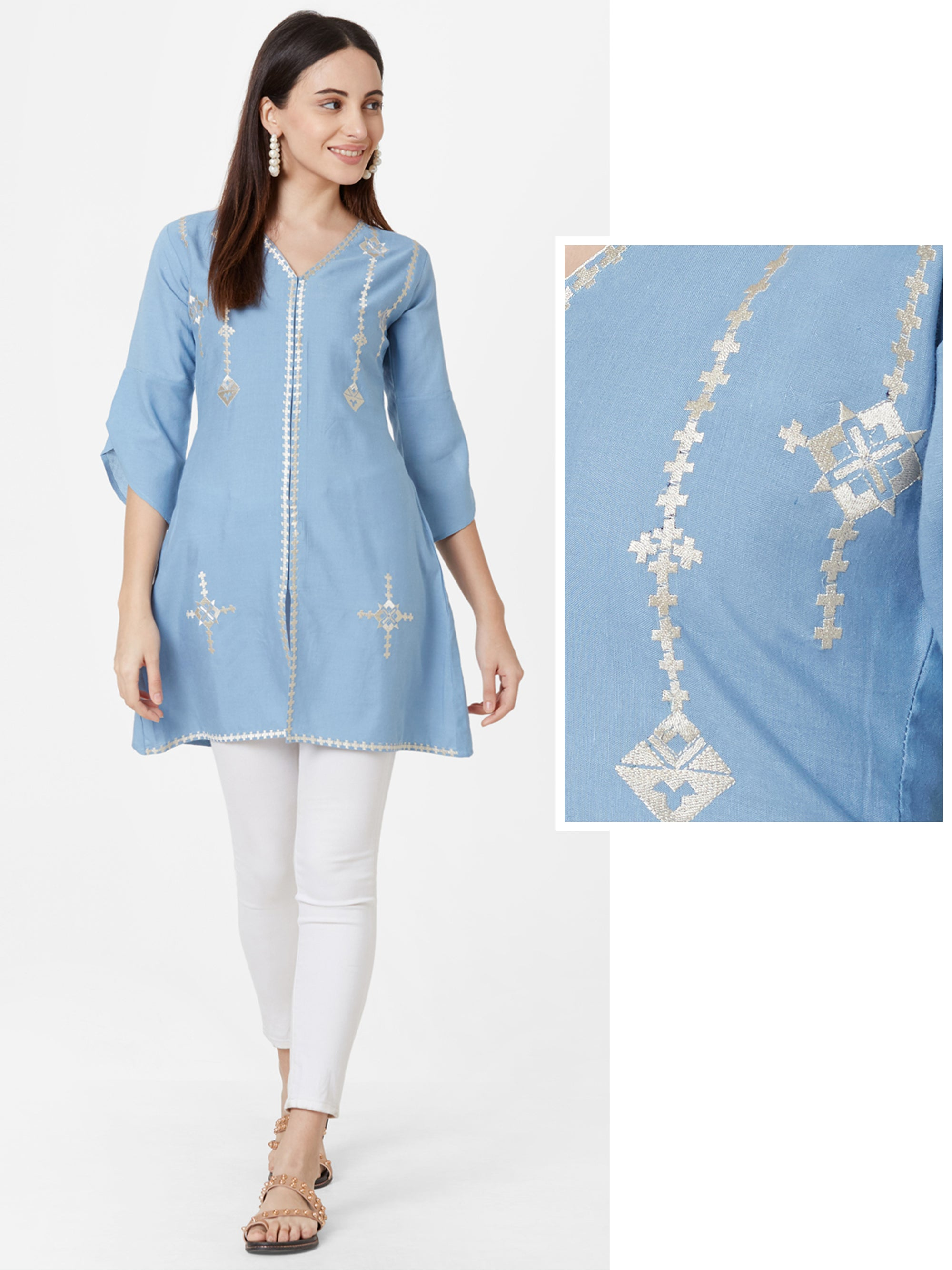 Silver Khari Printed Short Kurta – Powder Blue