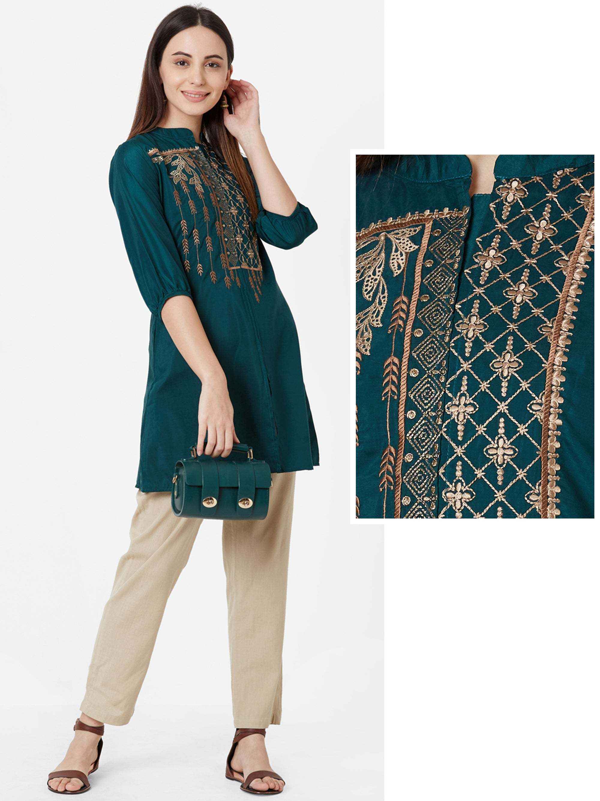 Zari & Cord Embroidered Temple Gota Short Kurta – Bottle Green