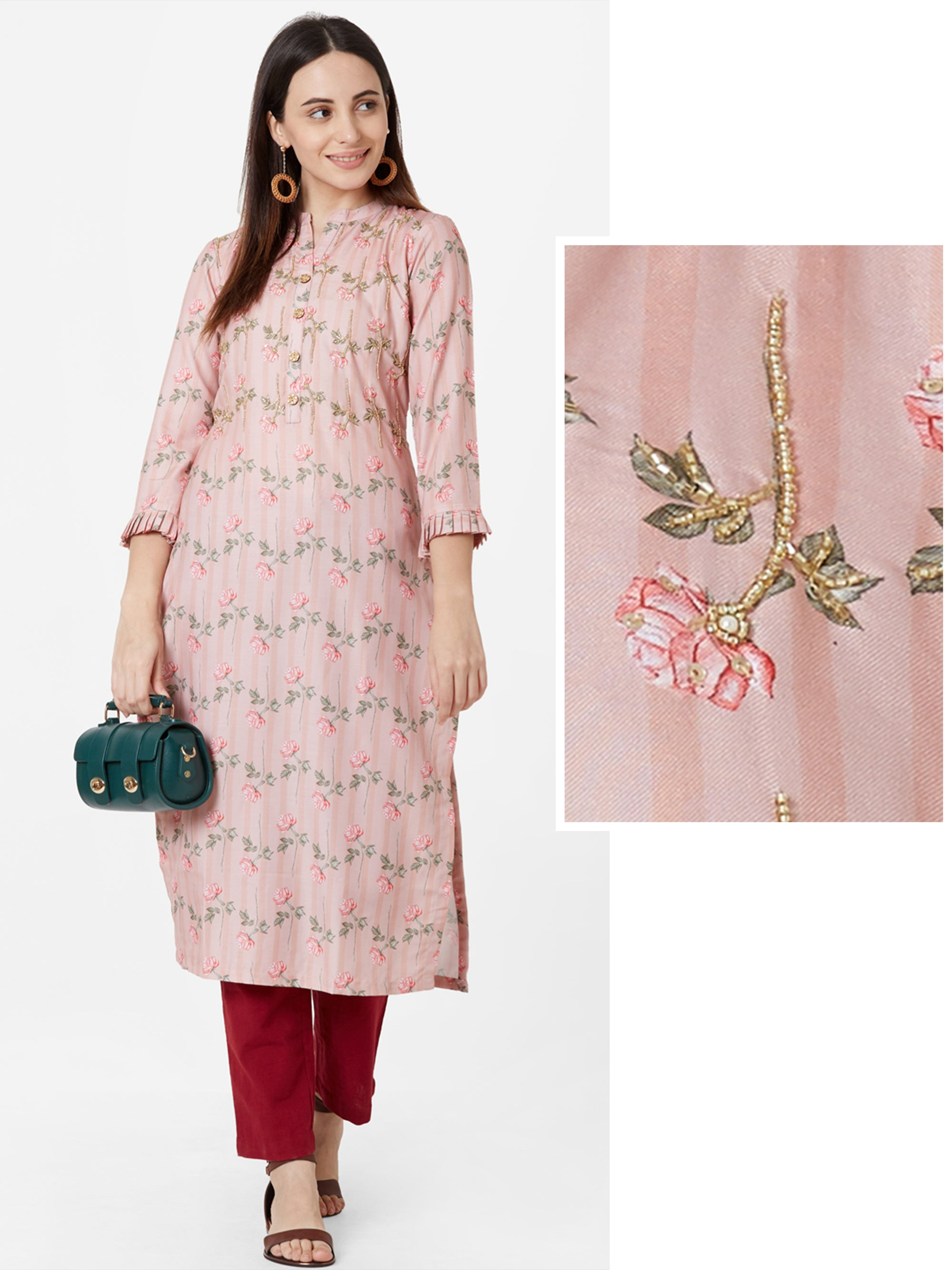 Floral Printed & Self Striped Cotton Kurta – Peach