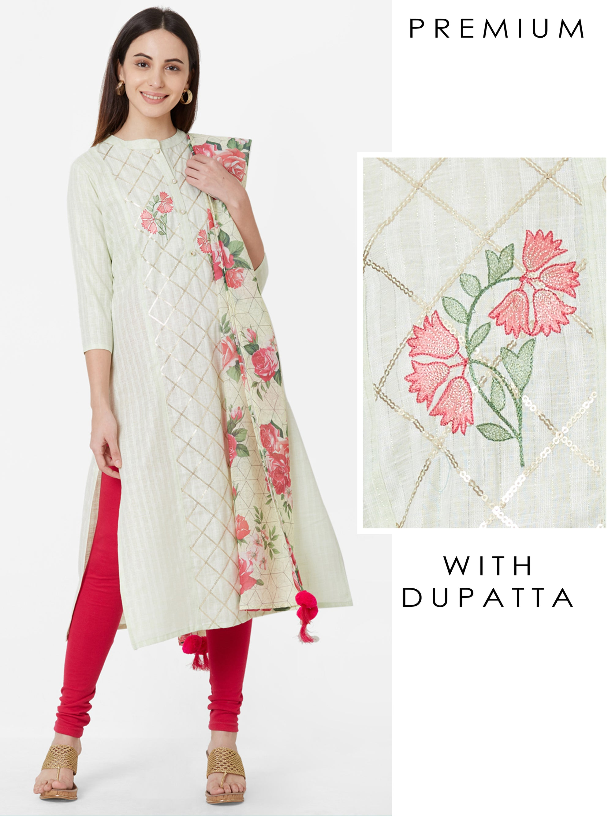 Gota Lace worked Kurta with Floral Printed Dupatta