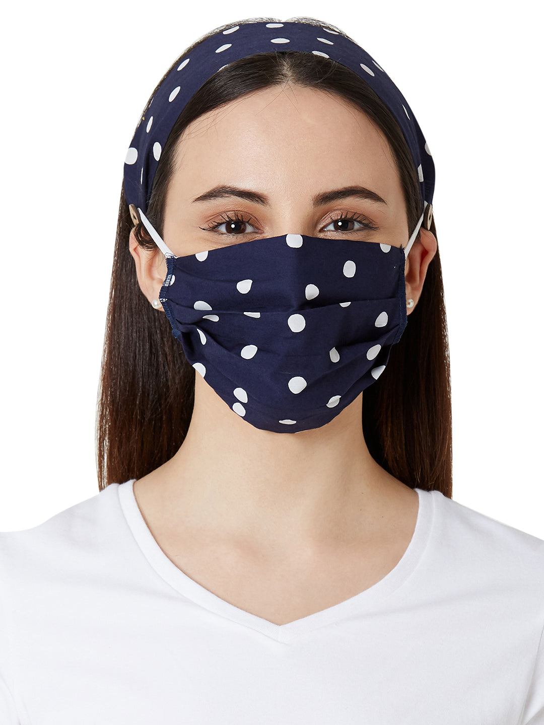 Set of 4 Trendy Printed Masks & Headbands Combo