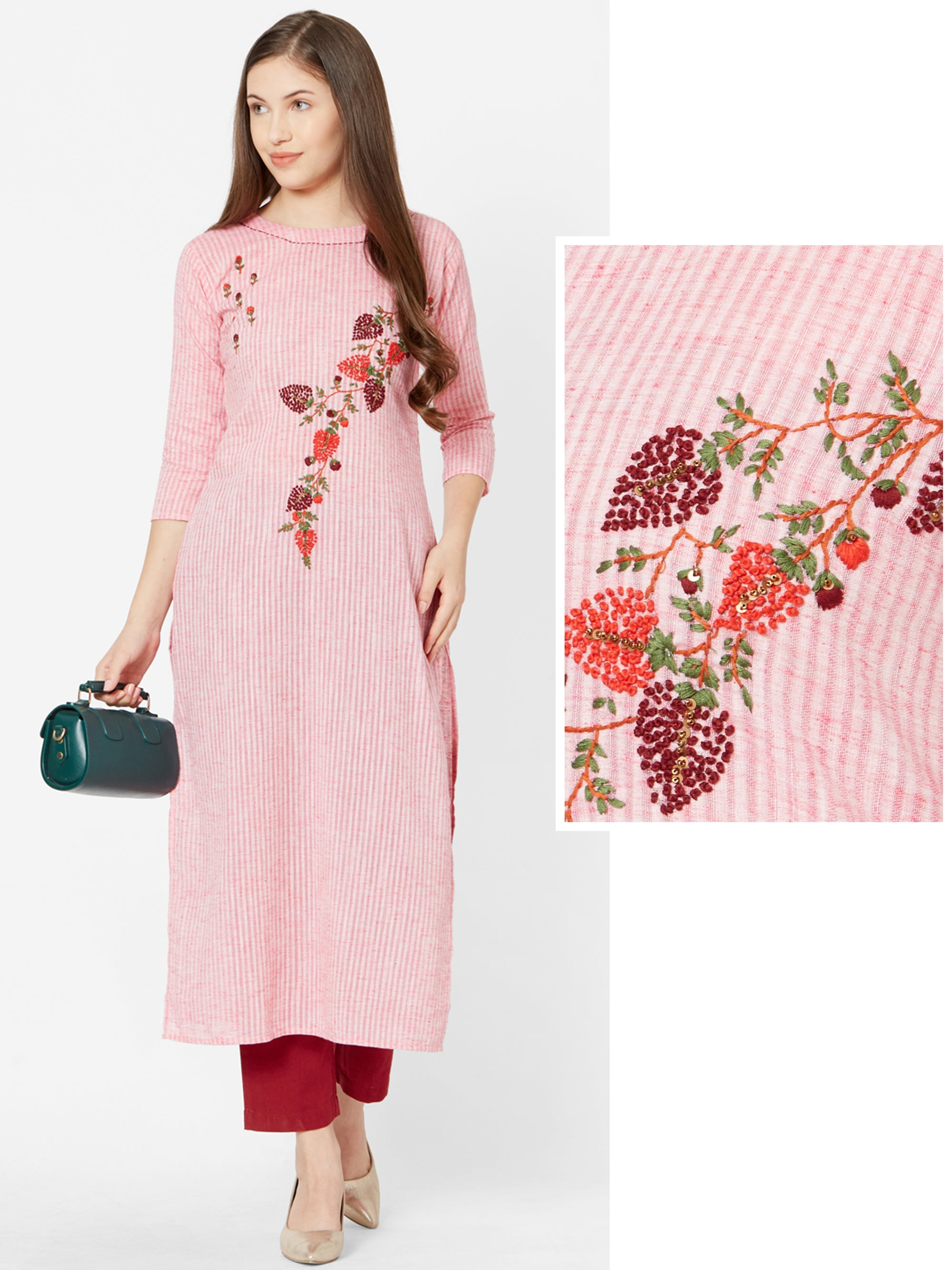 French Knot Embroidered & Pin Striped Kurta – Pink