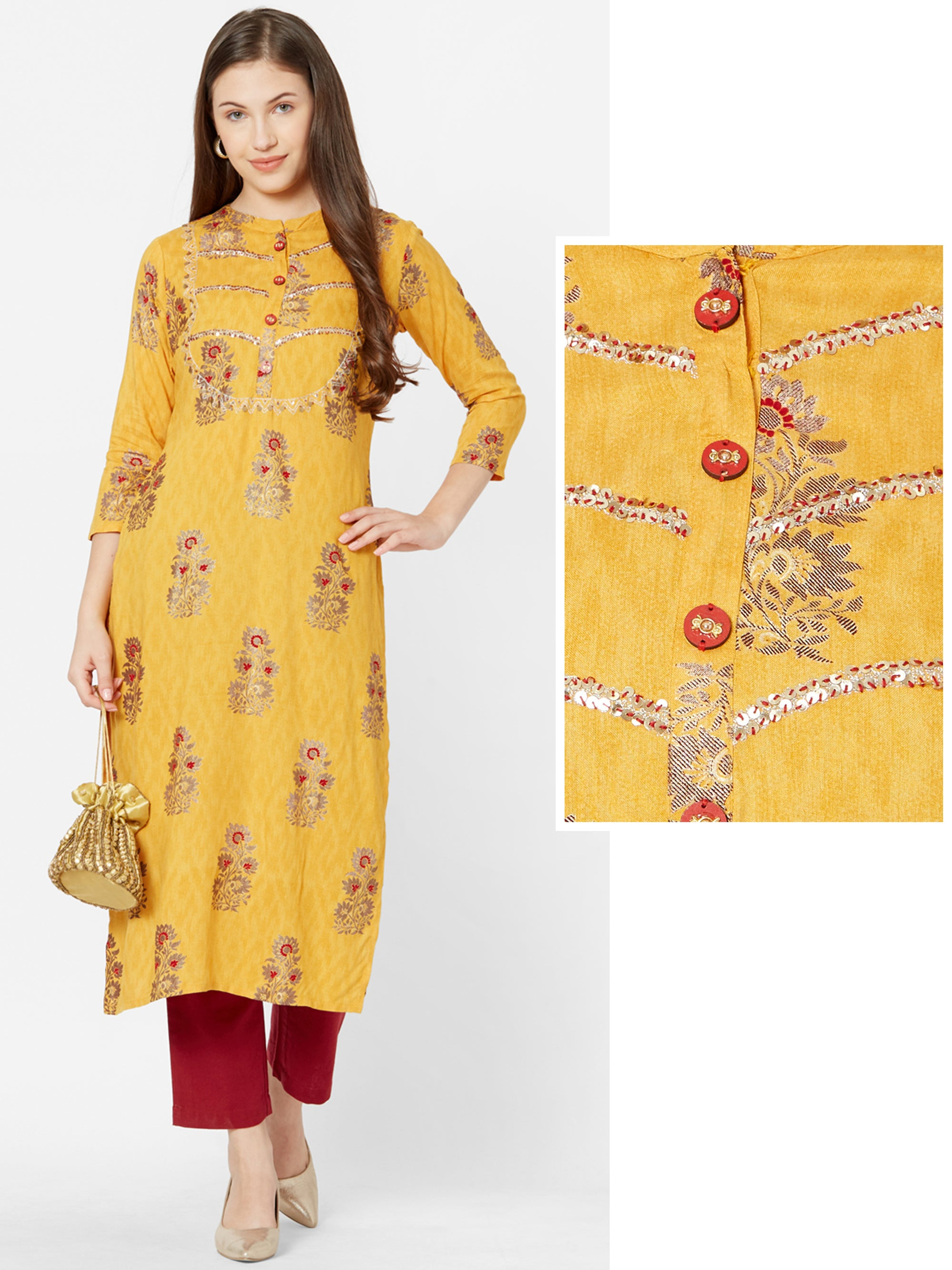 Sequins & Chain Embroidered Floral Printed Kurta – Yellow