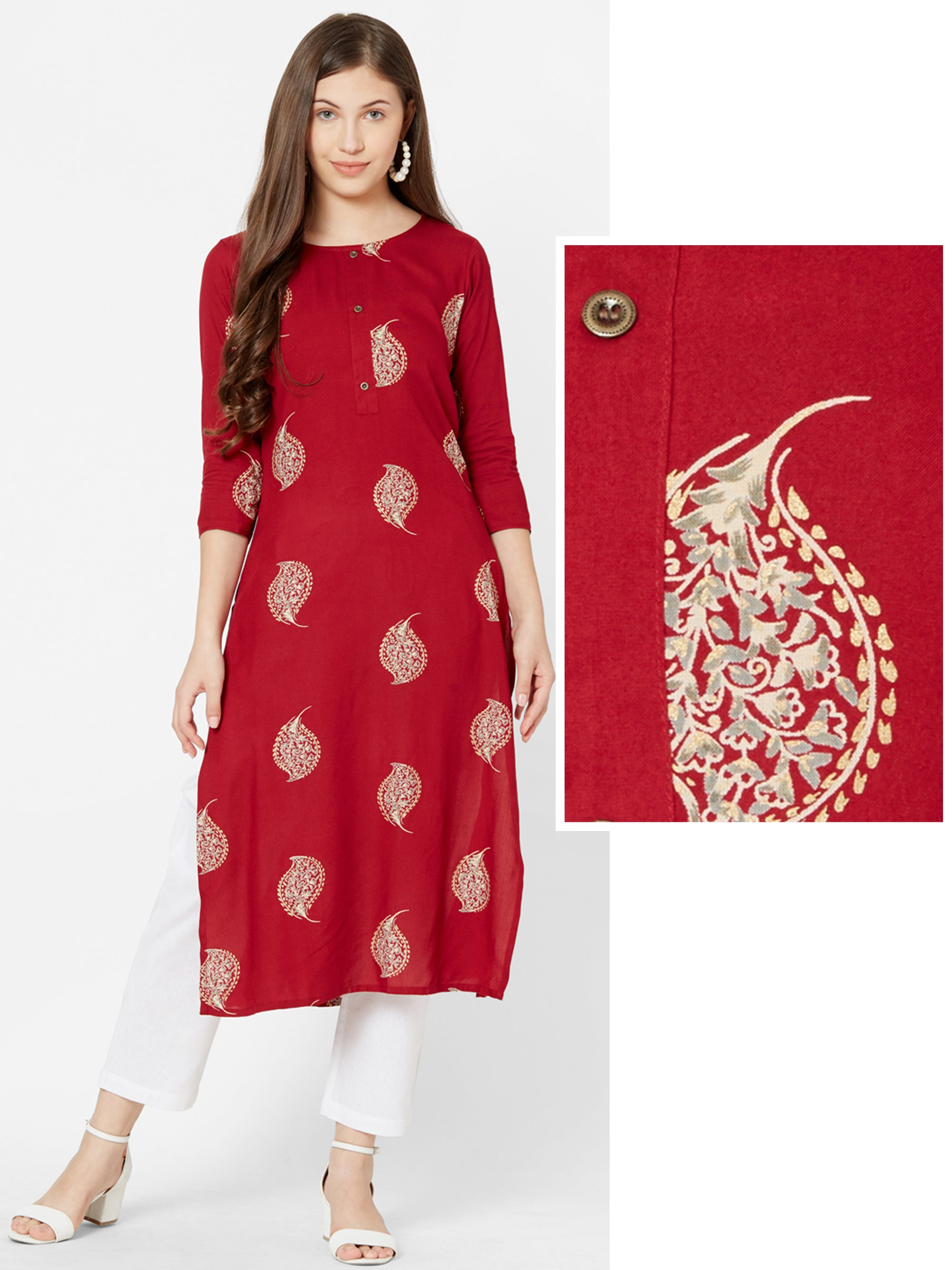 Ethnic Leaf & Foil printed Kurta – Red