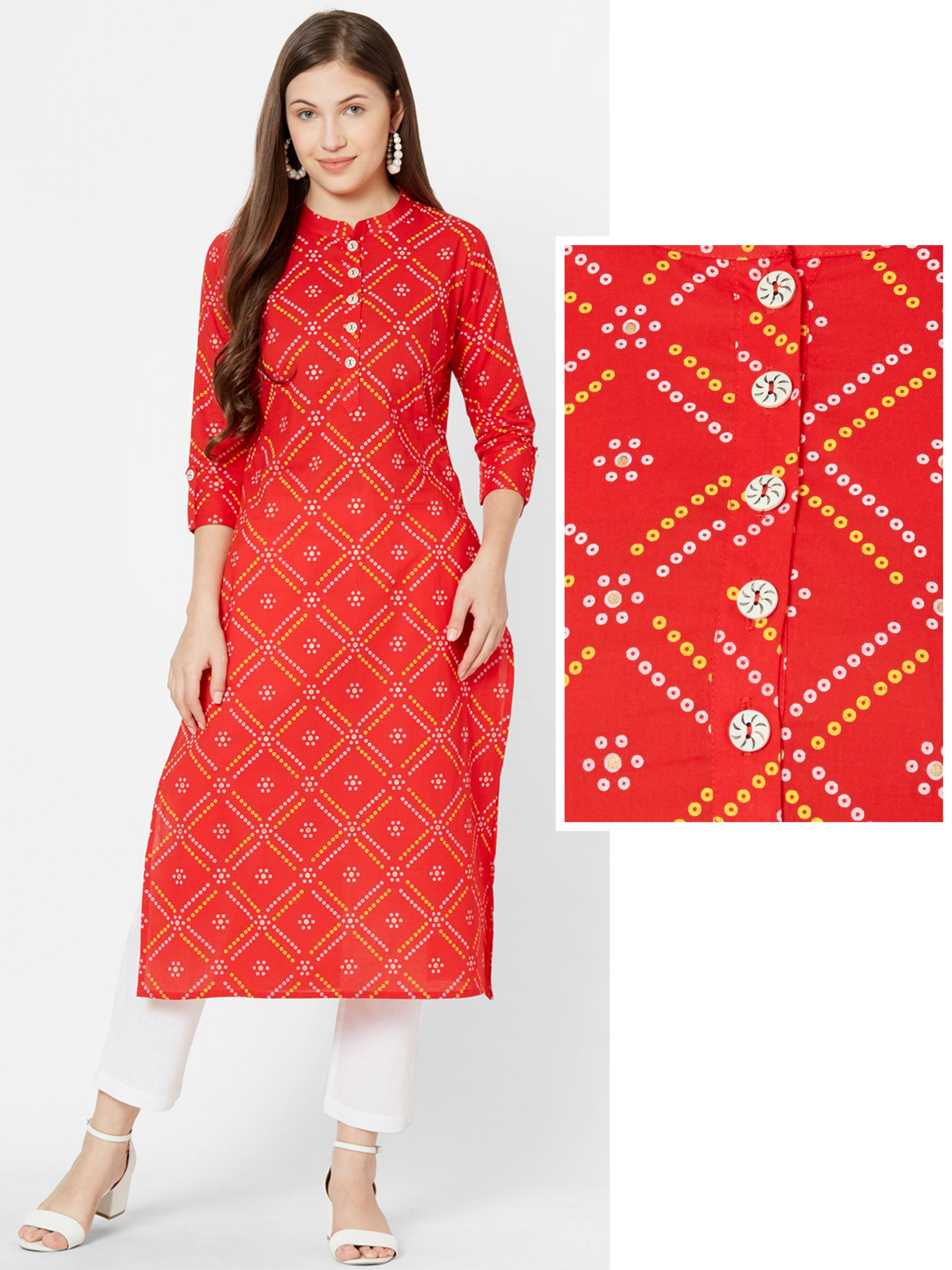 Bandhani printed Cotton kurta – Red