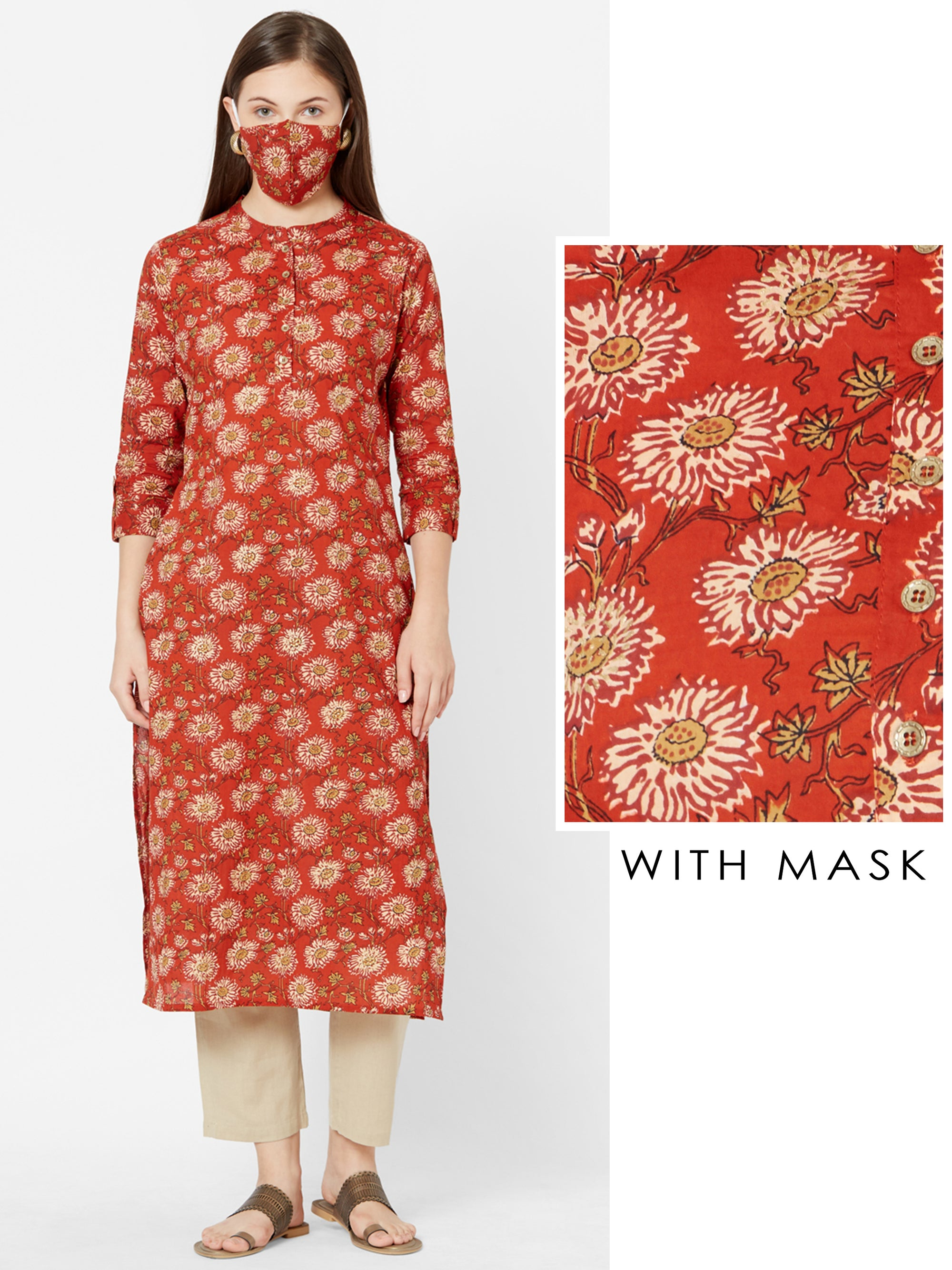 Elegant Floral Printed Cotton Kurta with Matching Mask – Rust