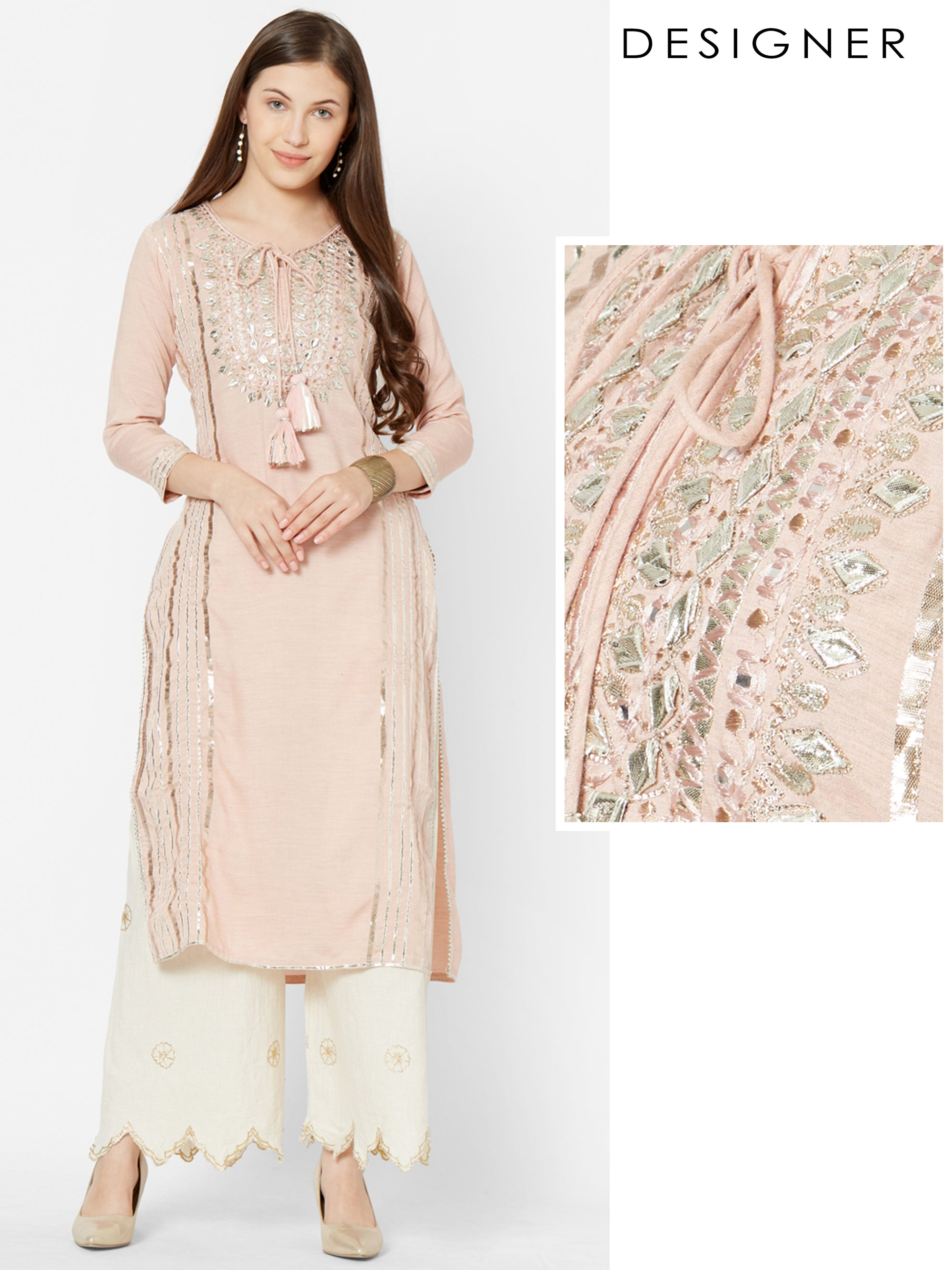Intense Gota Pati worked Premium Kurta – Pale Peach