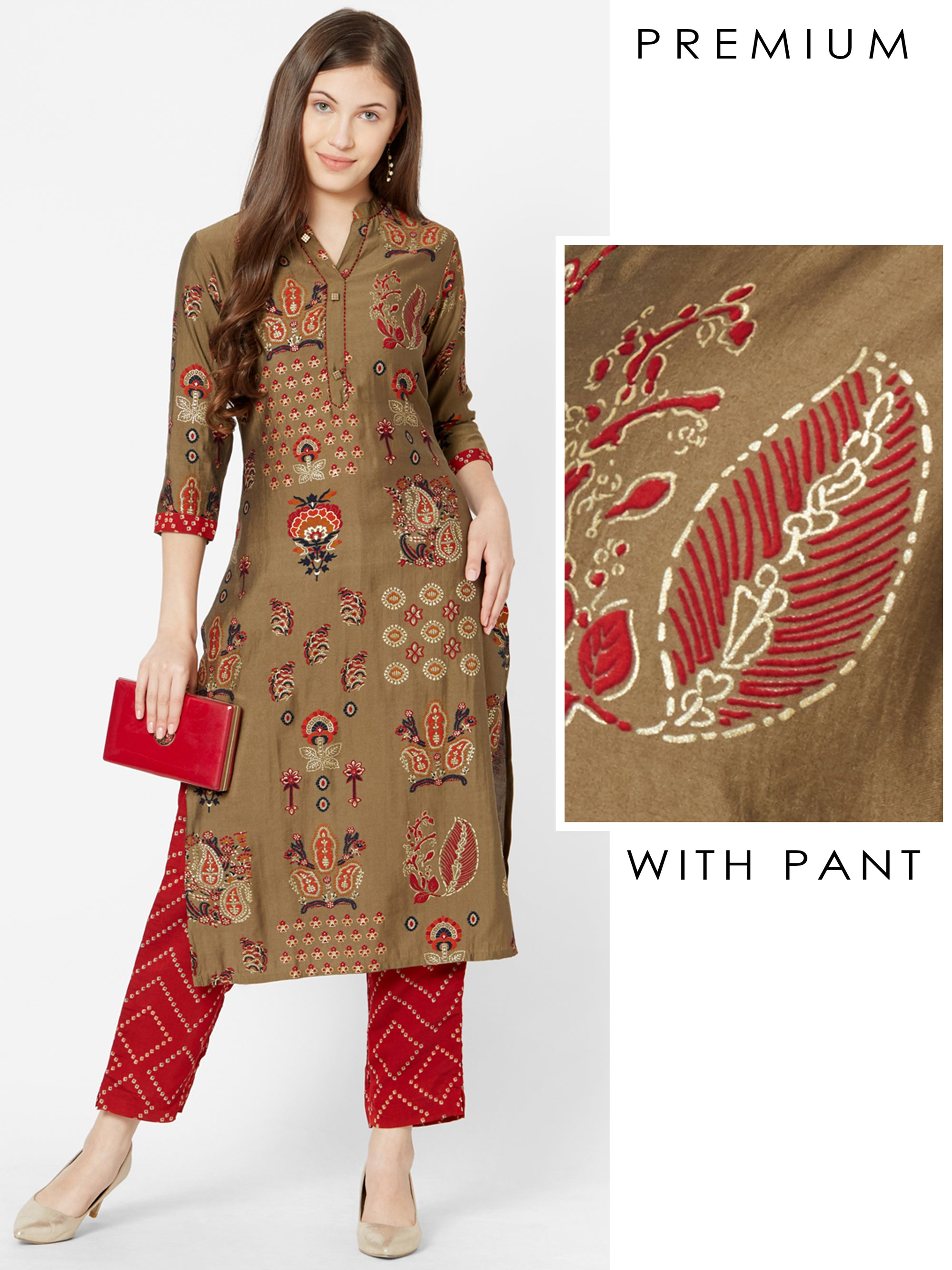 Mixed Floral Printed Kurta with Foil Checkered Pant – Brown