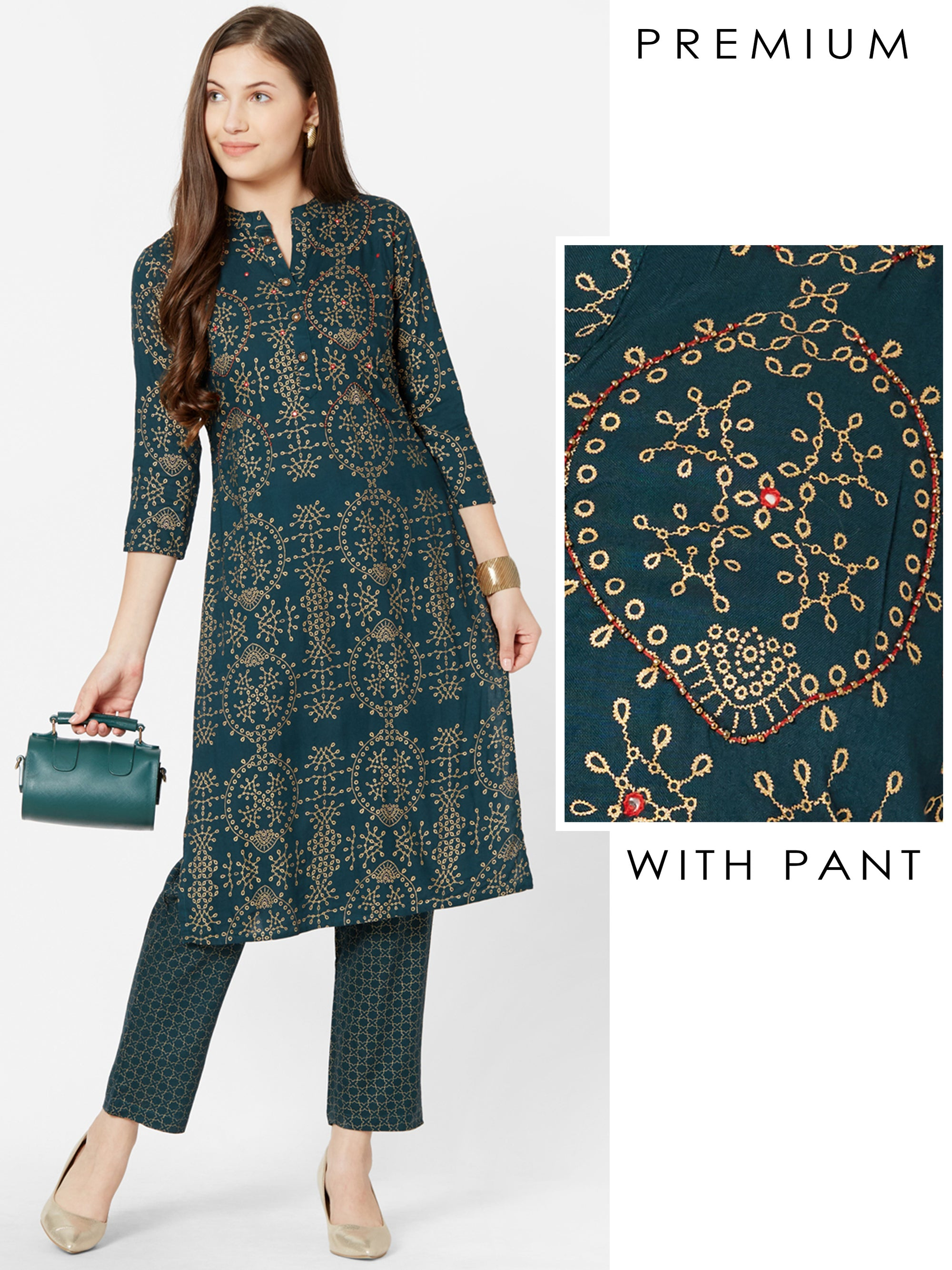 Bead & Mirror worked Kurta with Foil Printed Pant – Teal Blue