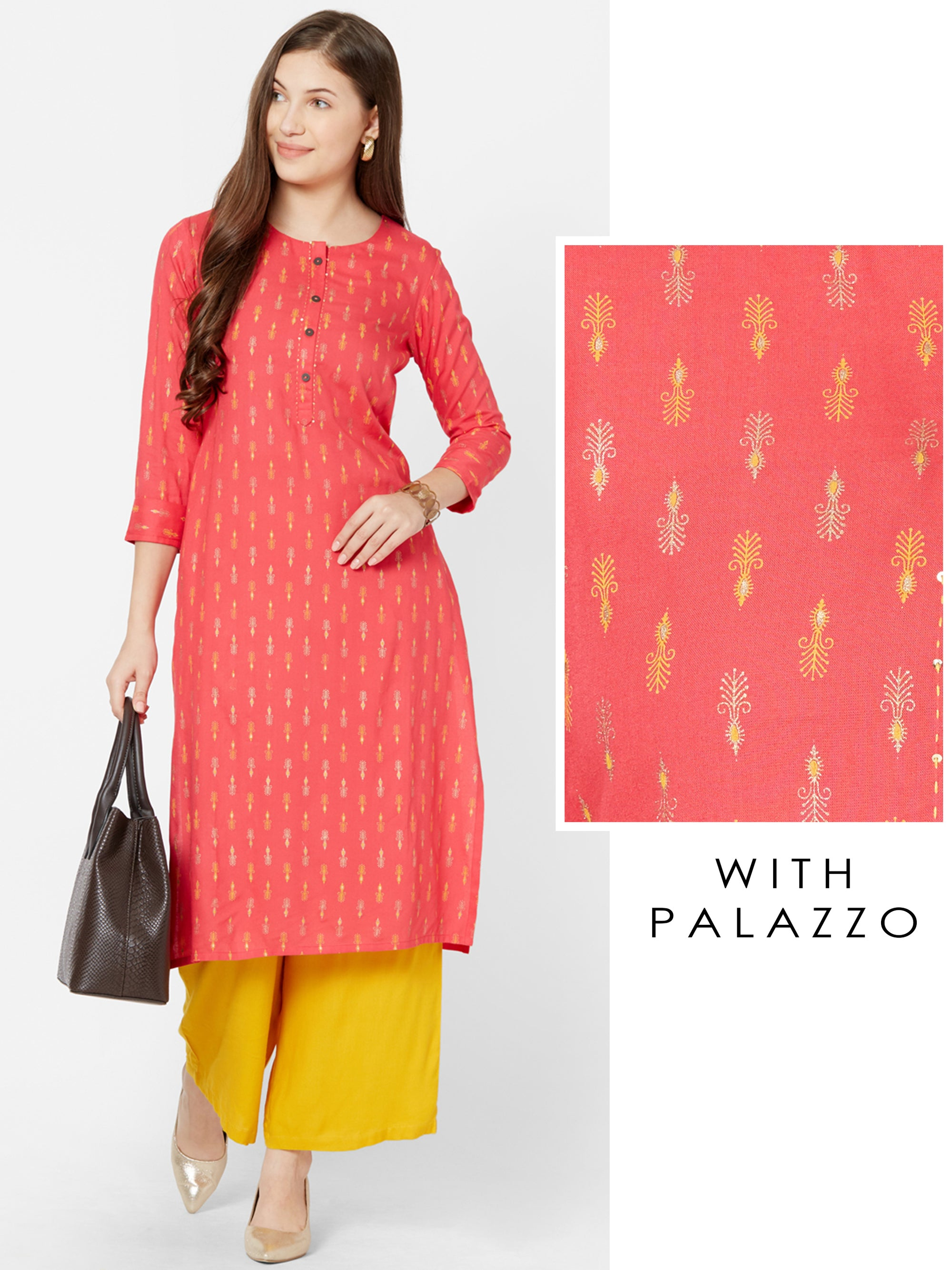 Minimal Khari Printed Kurta with Solid Palazzo – Peach