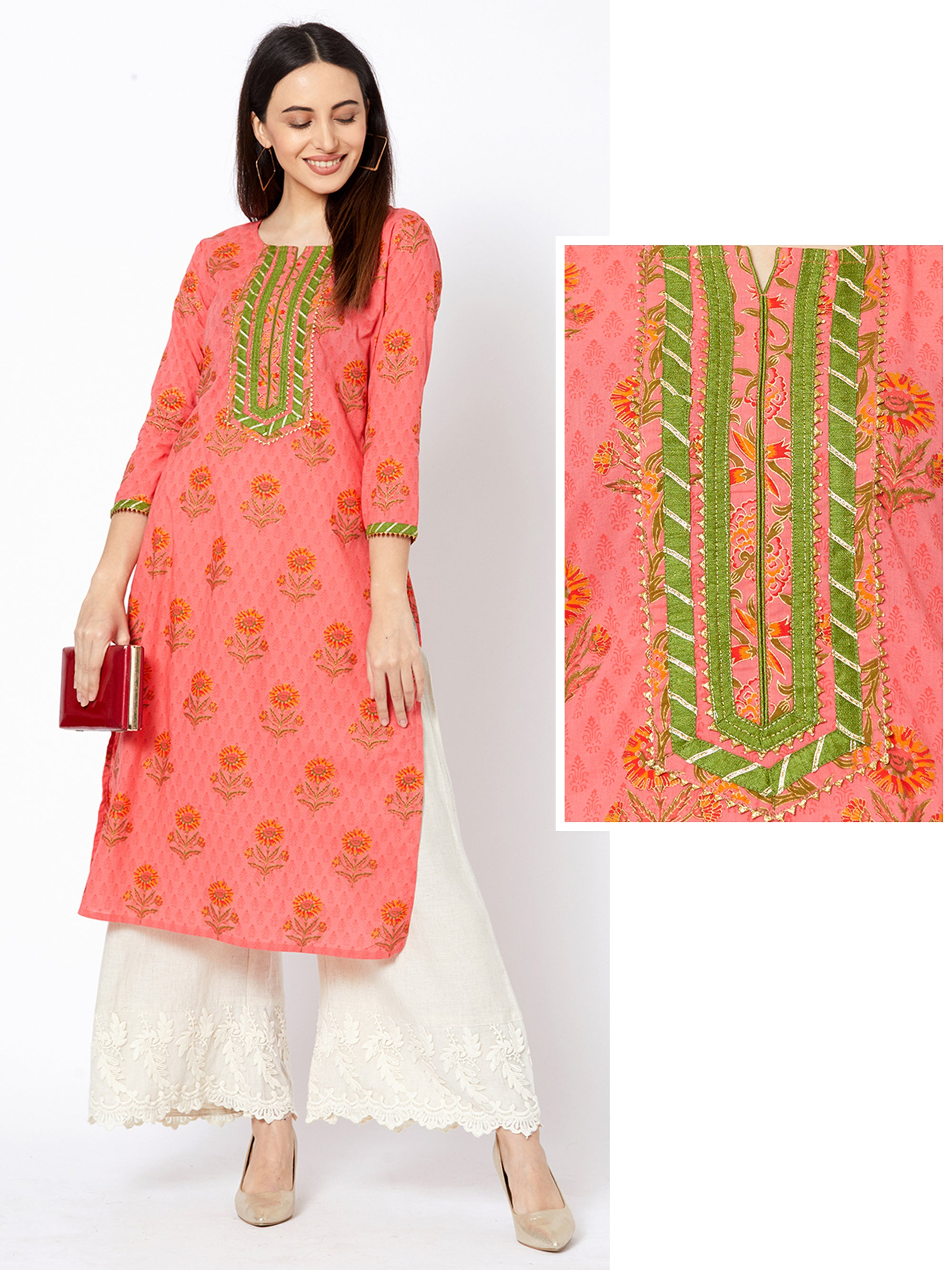 Floral & Pinnate Leaf Printed Temple Gota Kurta – Peach